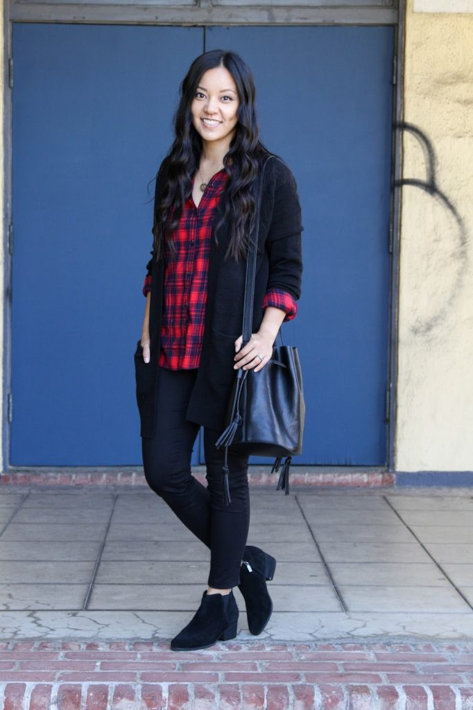 Plaid Shirt + Black Skinnies + Black Booties + Bucket Bag