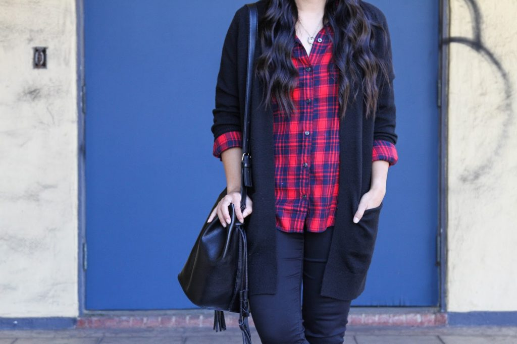 Black Skinnies + Black Bucket Bag + Plaid Shirt + Black Cardigan