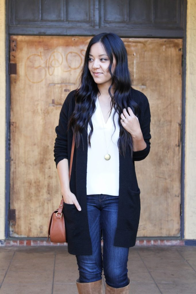 Pendant Necklace + Black Cardigan + White Tunic