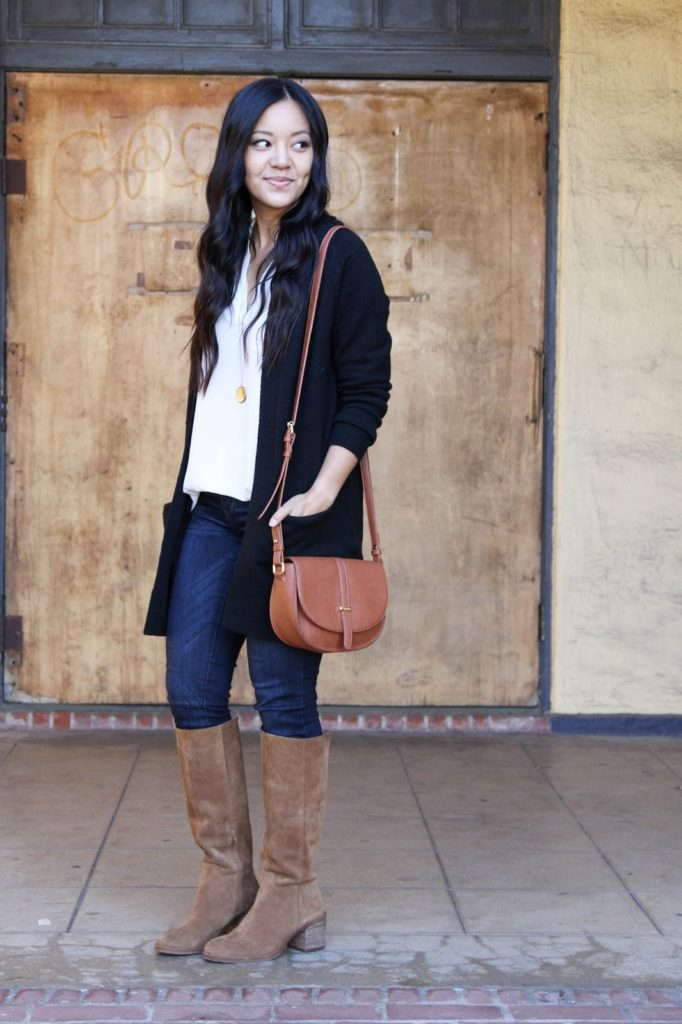 Black Cardigan + Riding Boots + Skinnies + White Blouse