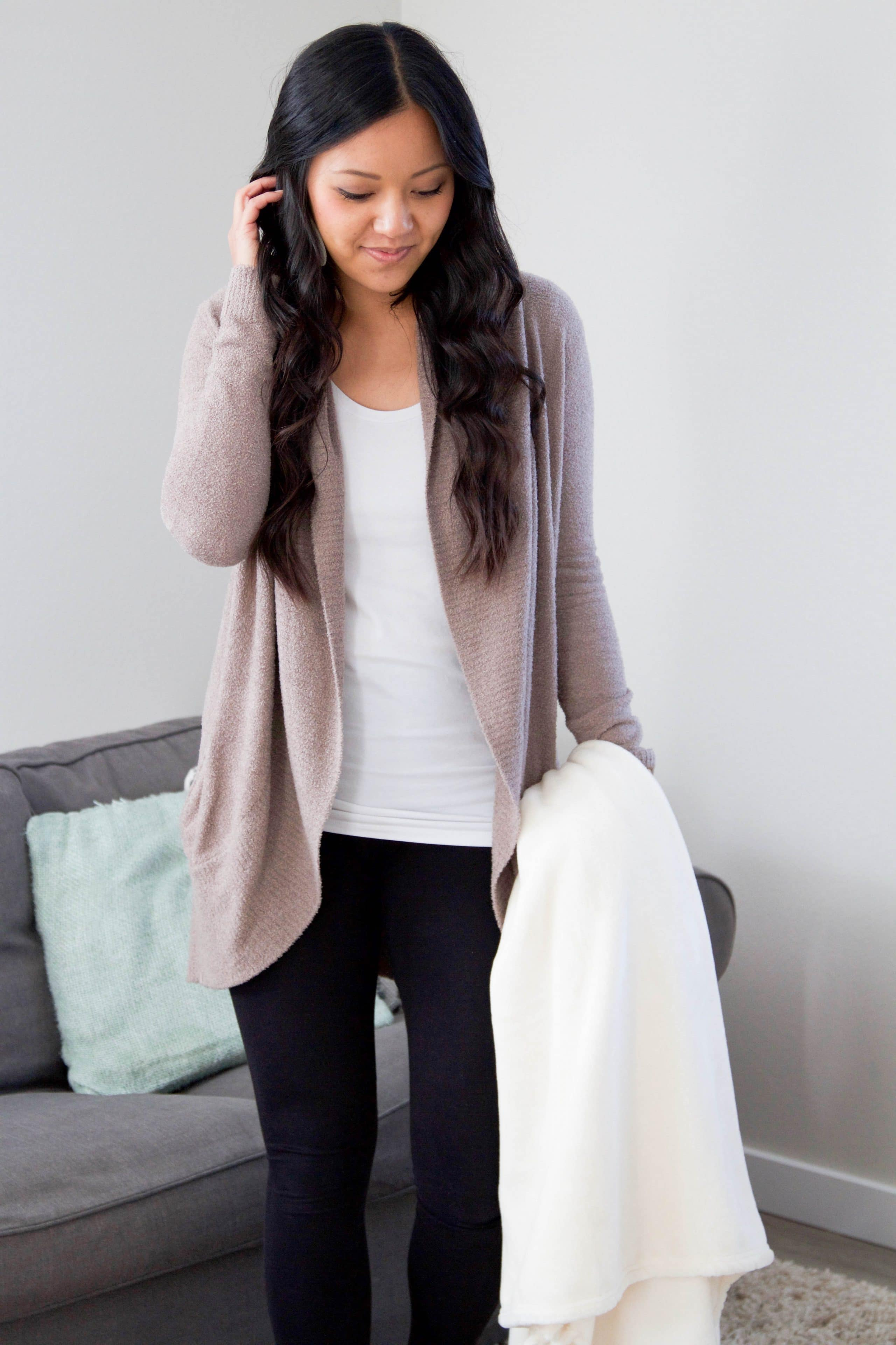 Comfy At Home Outfit: Leggings + Cardigan + Camisole + Plush Blanket