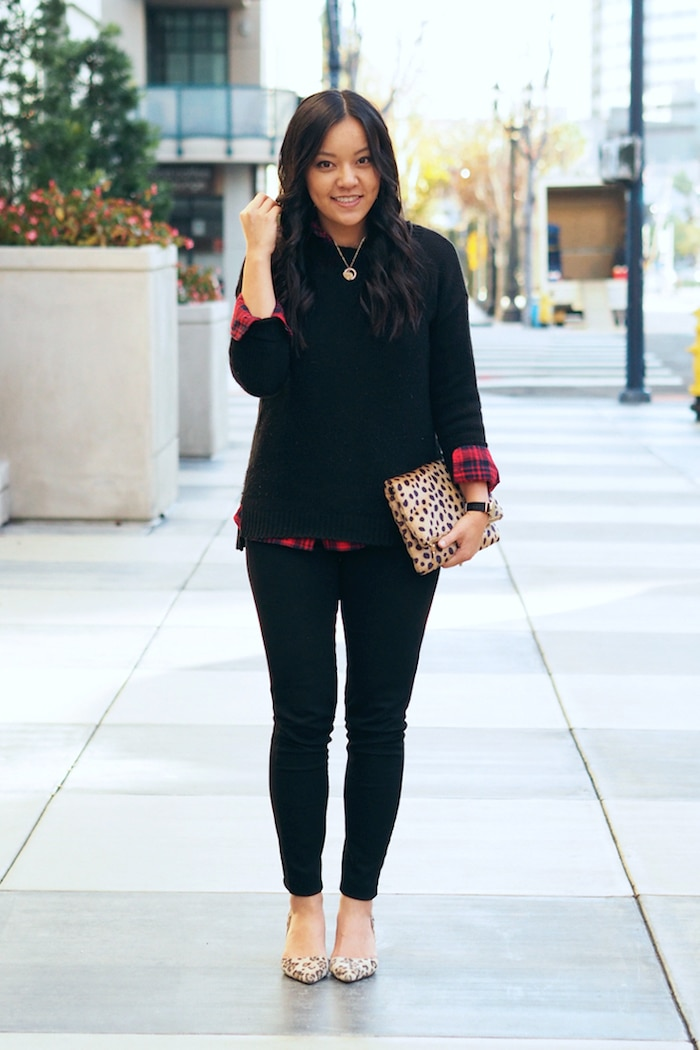 Red Plaid Button Up + Black Sweater + Leopard Print