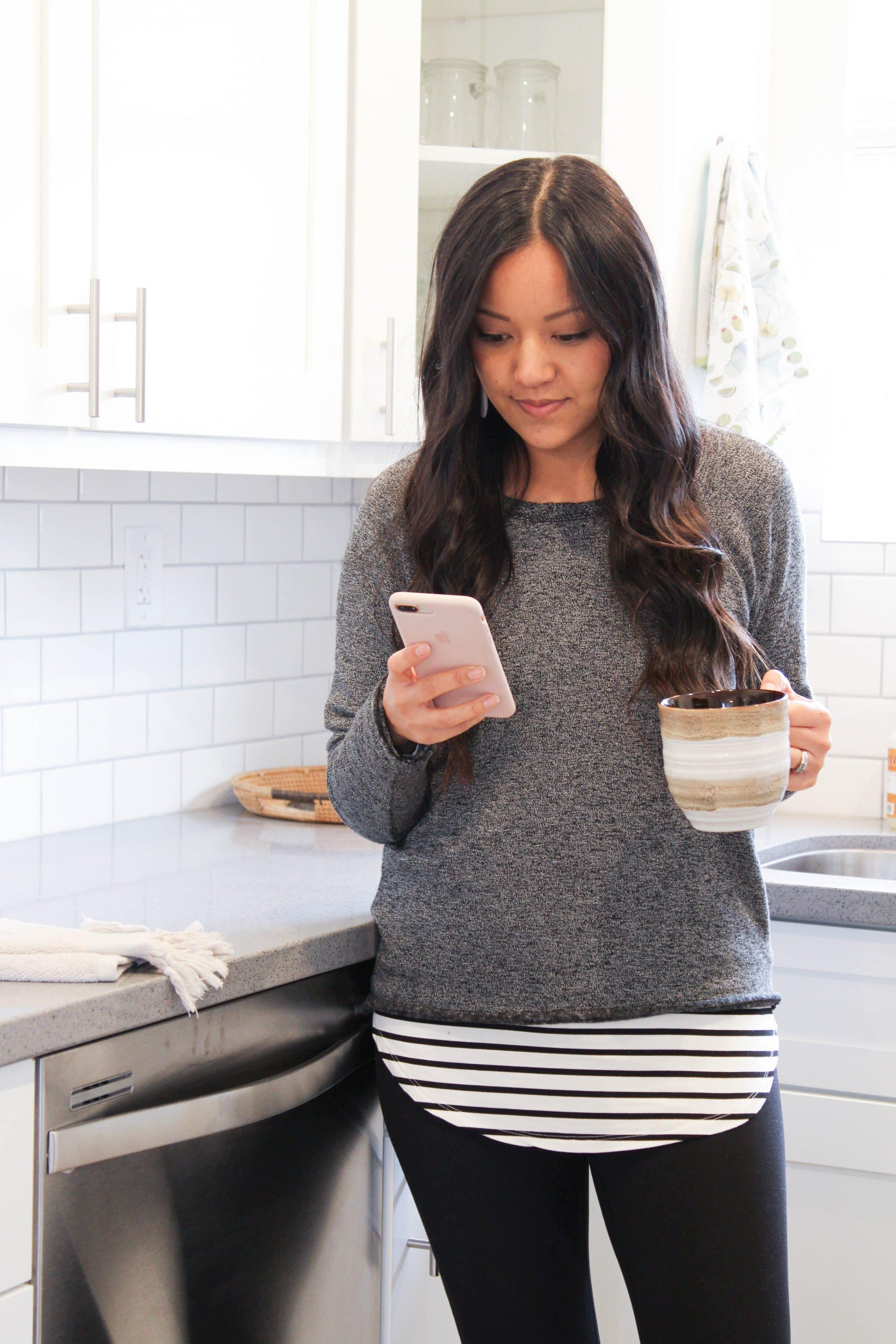 Loungewear: Grey Sweater + Leggings + Striped Tee