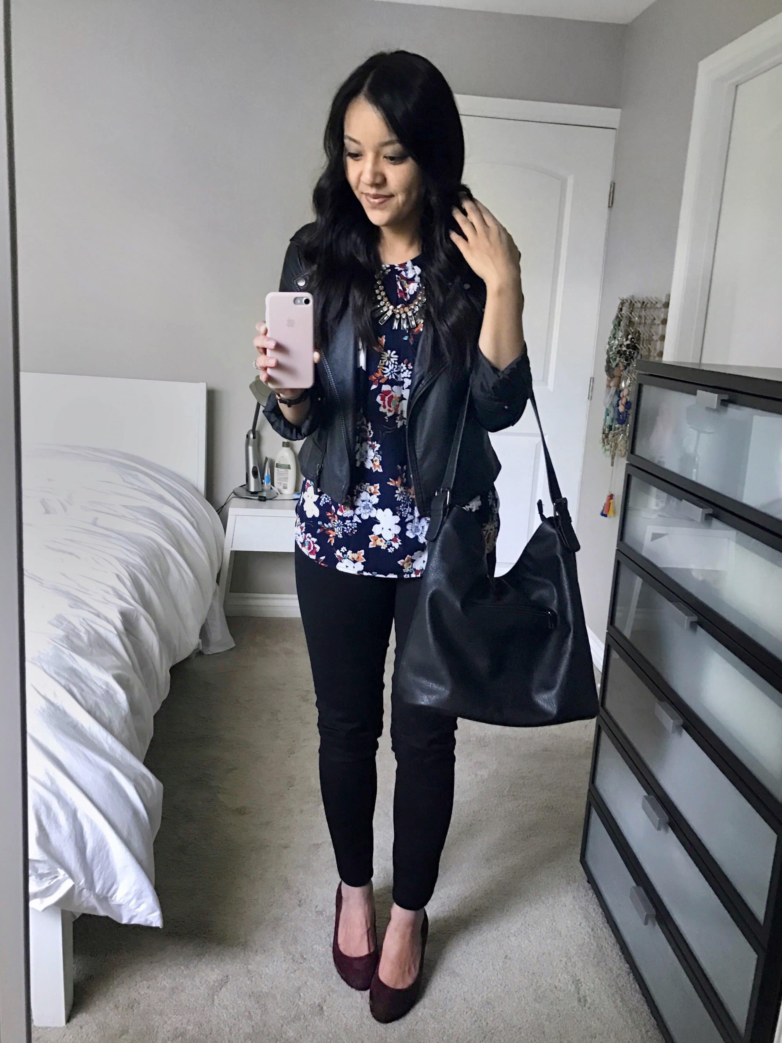 Navy Floral Print Top + Black Jeans + Maroon Pumps + Black Faux Leather Jacket