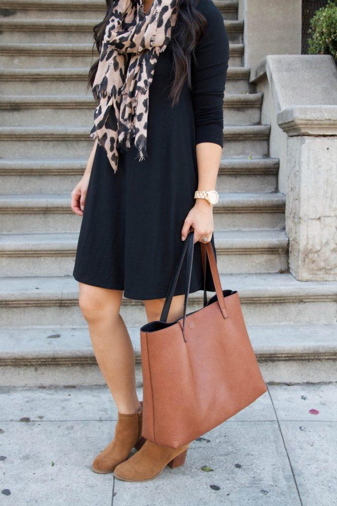 black swing dress + leopard scarf + tan booties