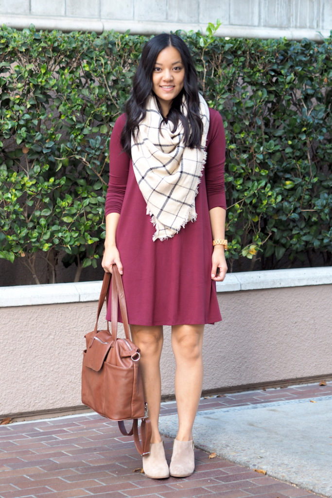 7fcdf838d7ab9 Maroon Swing Dress + Plaid Blanket Scarf + Booties + Tote