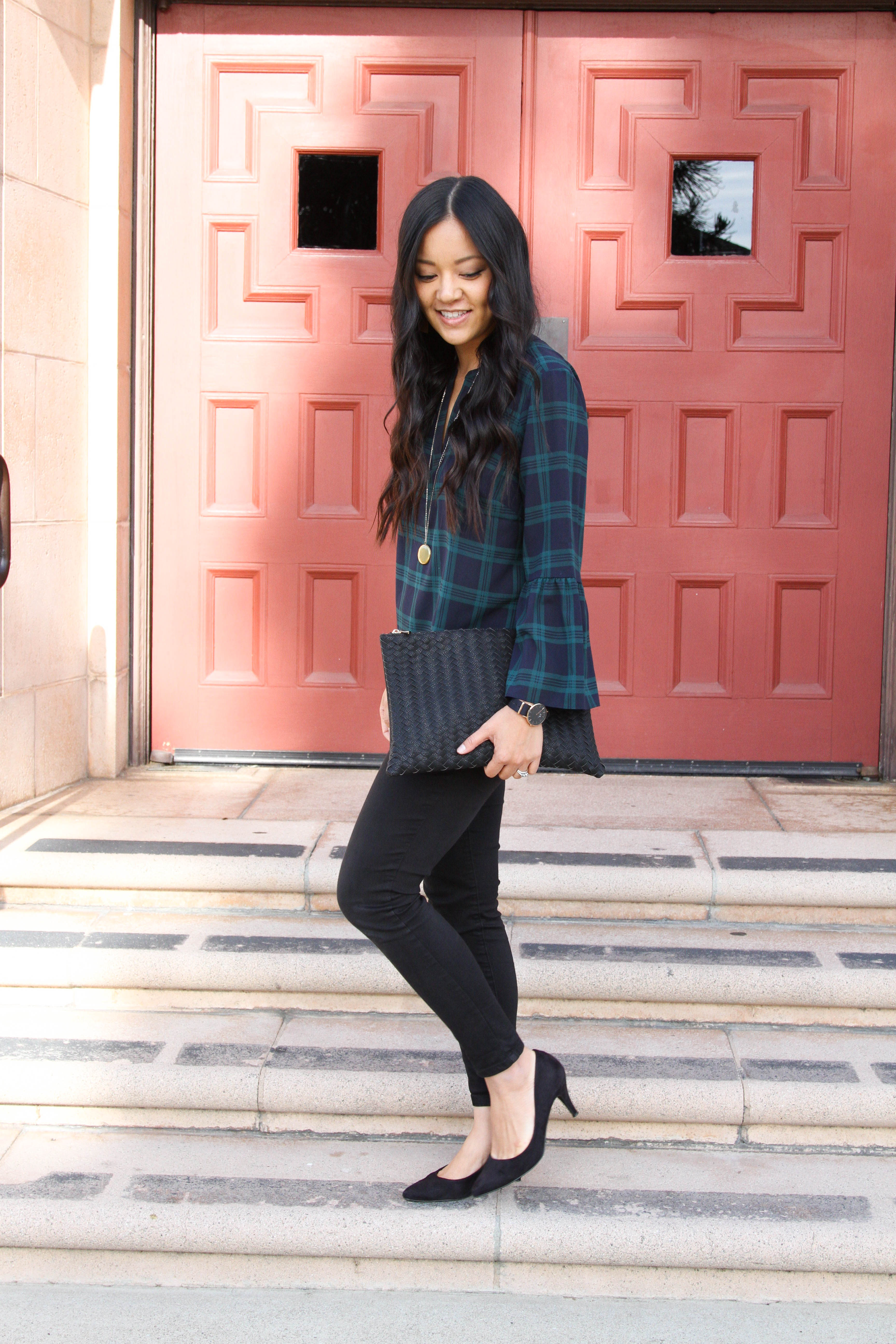 Holiday Office Outfit: green navy plaid + black pants + black pumps + gold pendant + black clutch