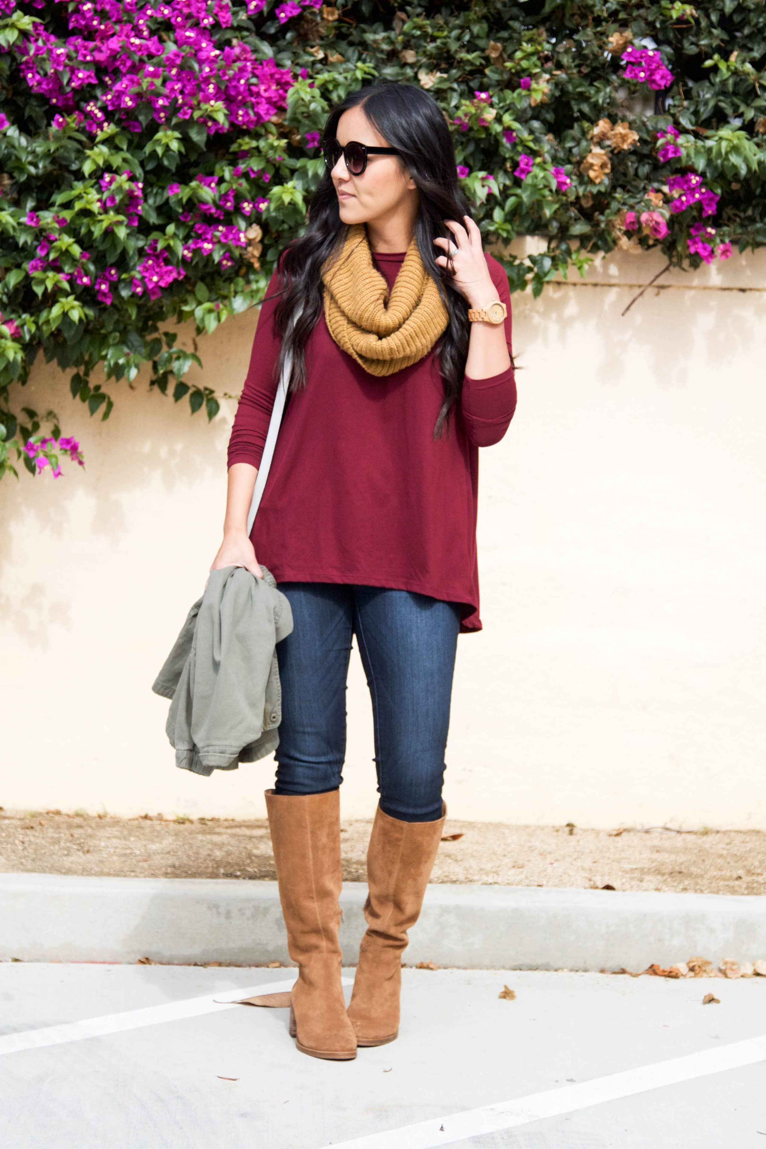 maroon top + jeans + boots + mustard scarf
