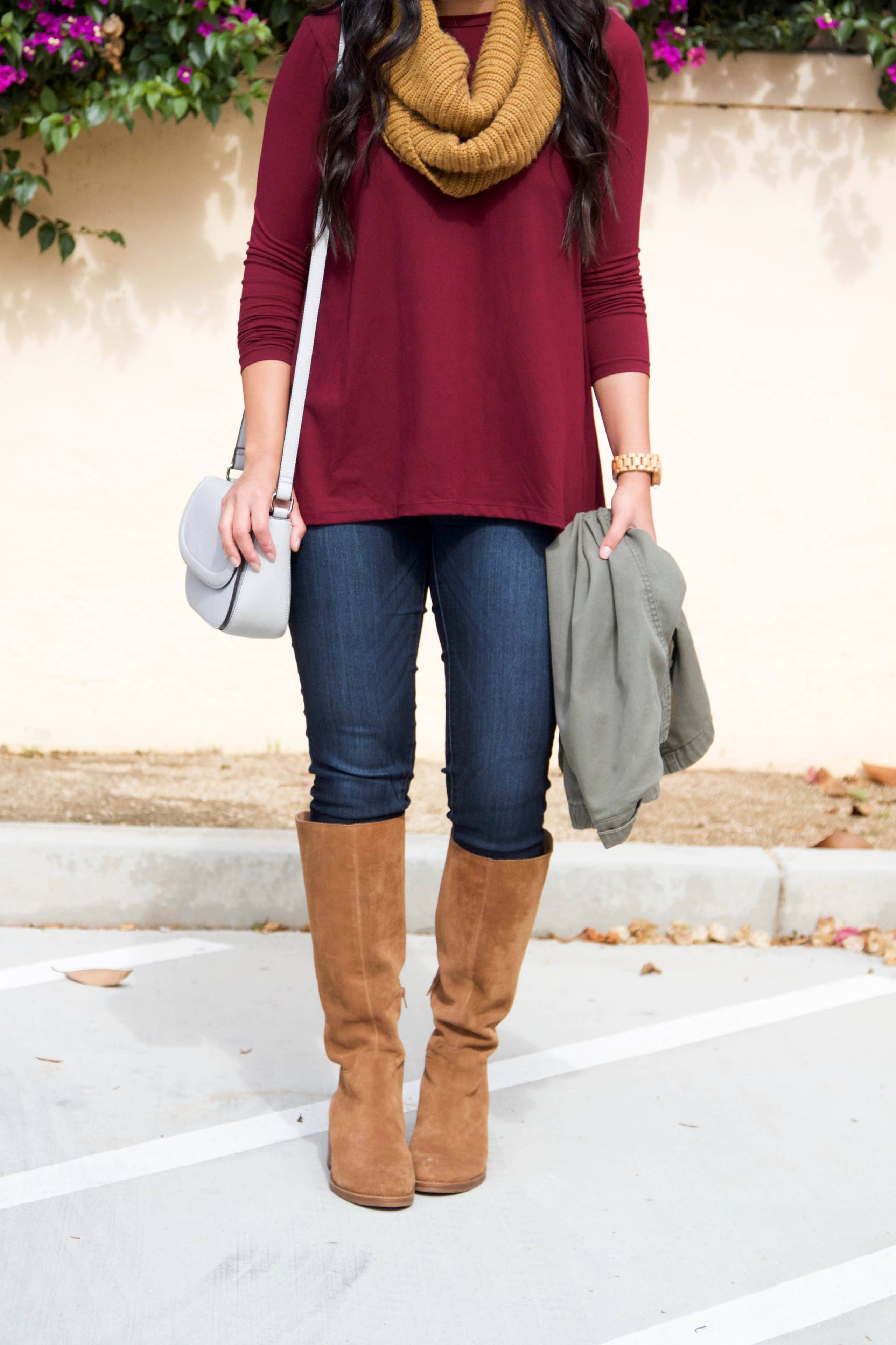 maroon top + jeans + mustard scarf + tan suede boots