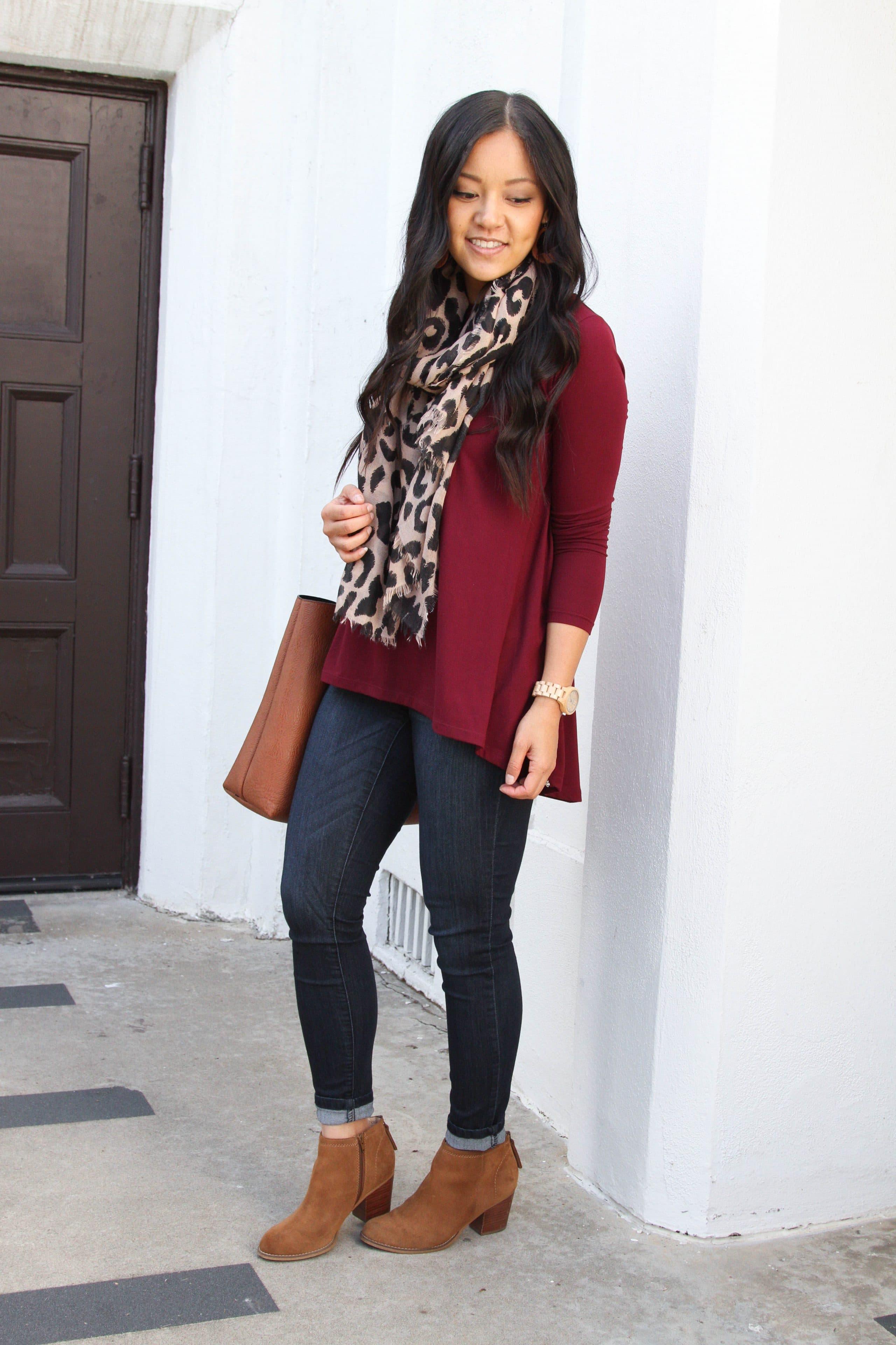 maroon tunic + skinny jeans + leopard scarf