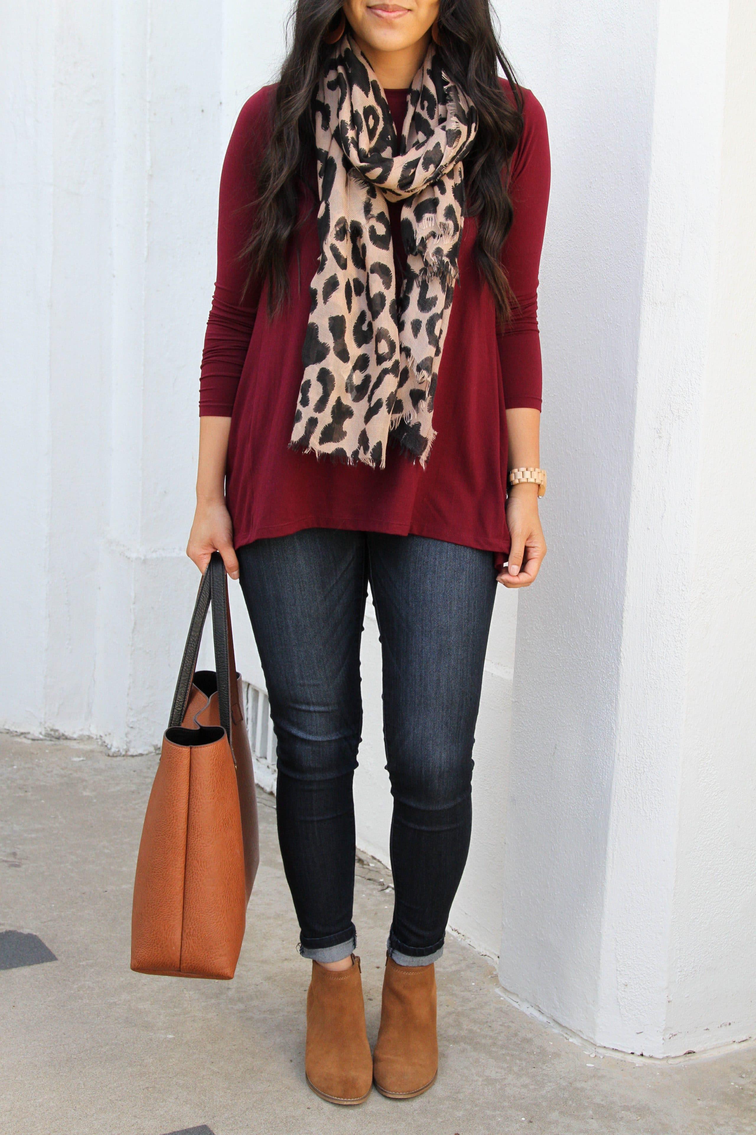 jeans + maroon top + tan booties + l leopard scarf