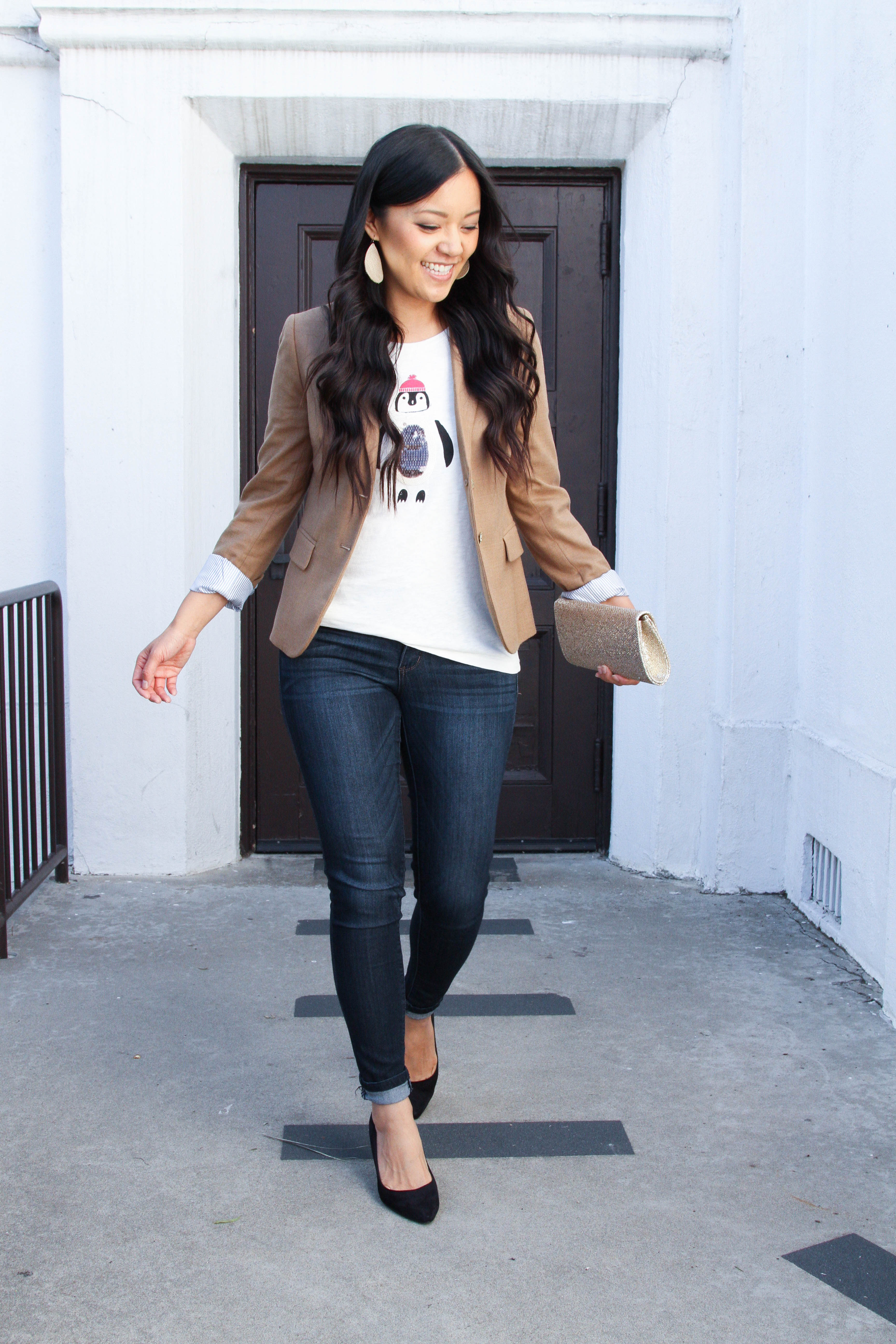 Tan Blazer + Holiday Penguin Tee + Skinnies + Black Pumps + Skinnies