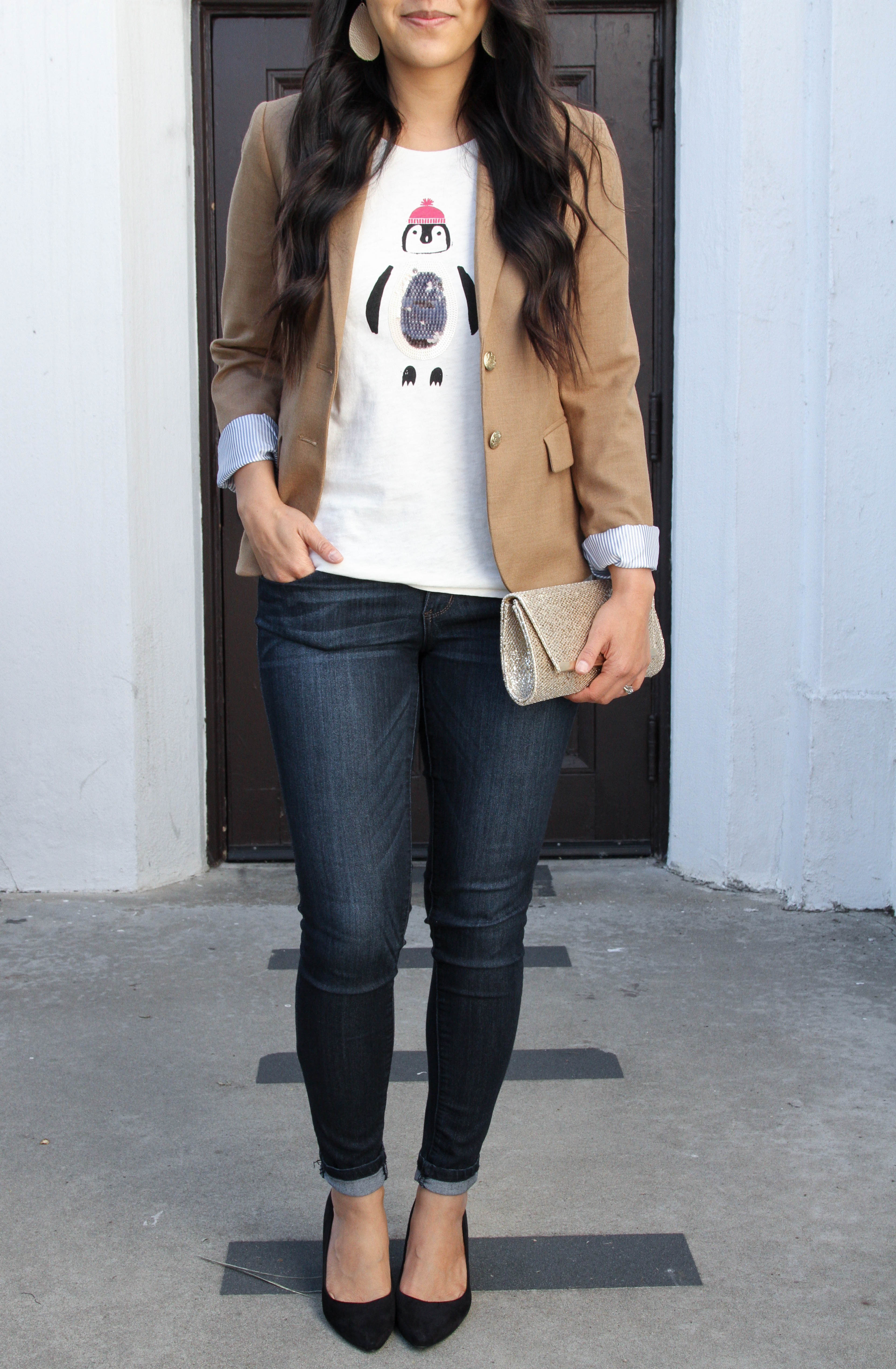 Holiday Tee + Tan Blazer + Skinnies + Black Pumps + Gold Clutch