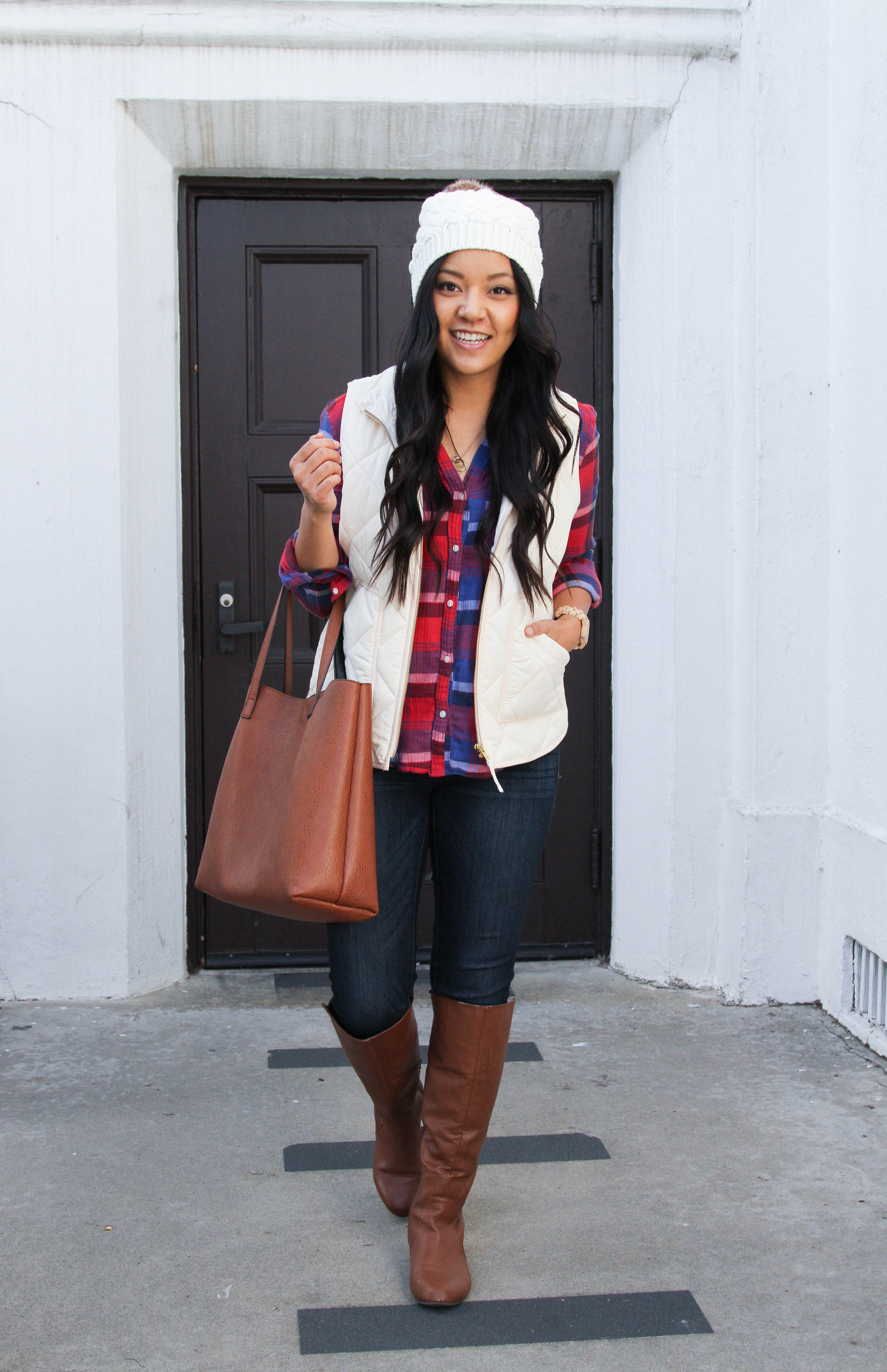 White Hat + White Vest + Plaid Shirt + Skinnies + Riding Boots