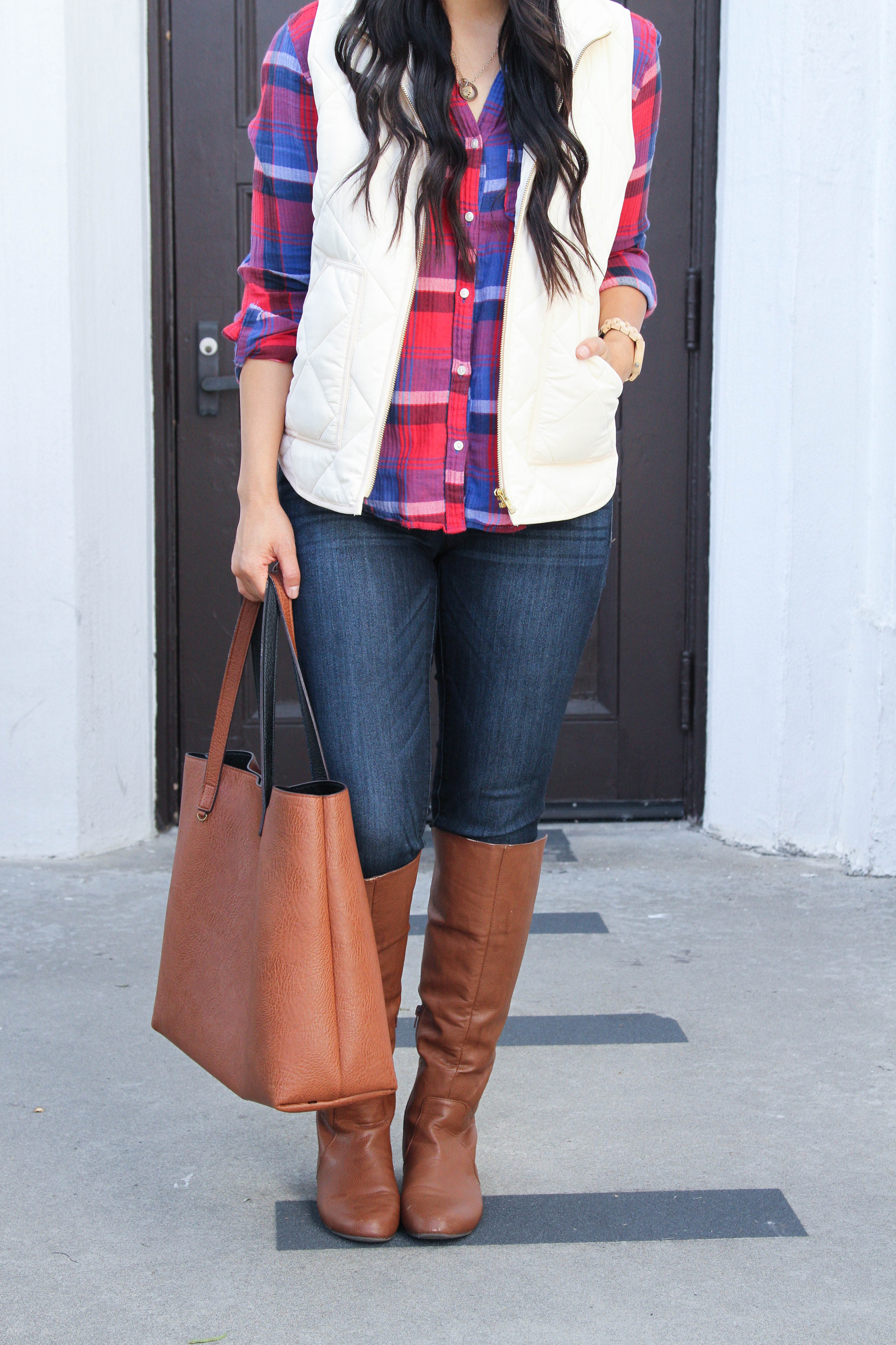 Riding Boots + Skinnies + Cognac Tote + Red Plaid shirt + White Vest