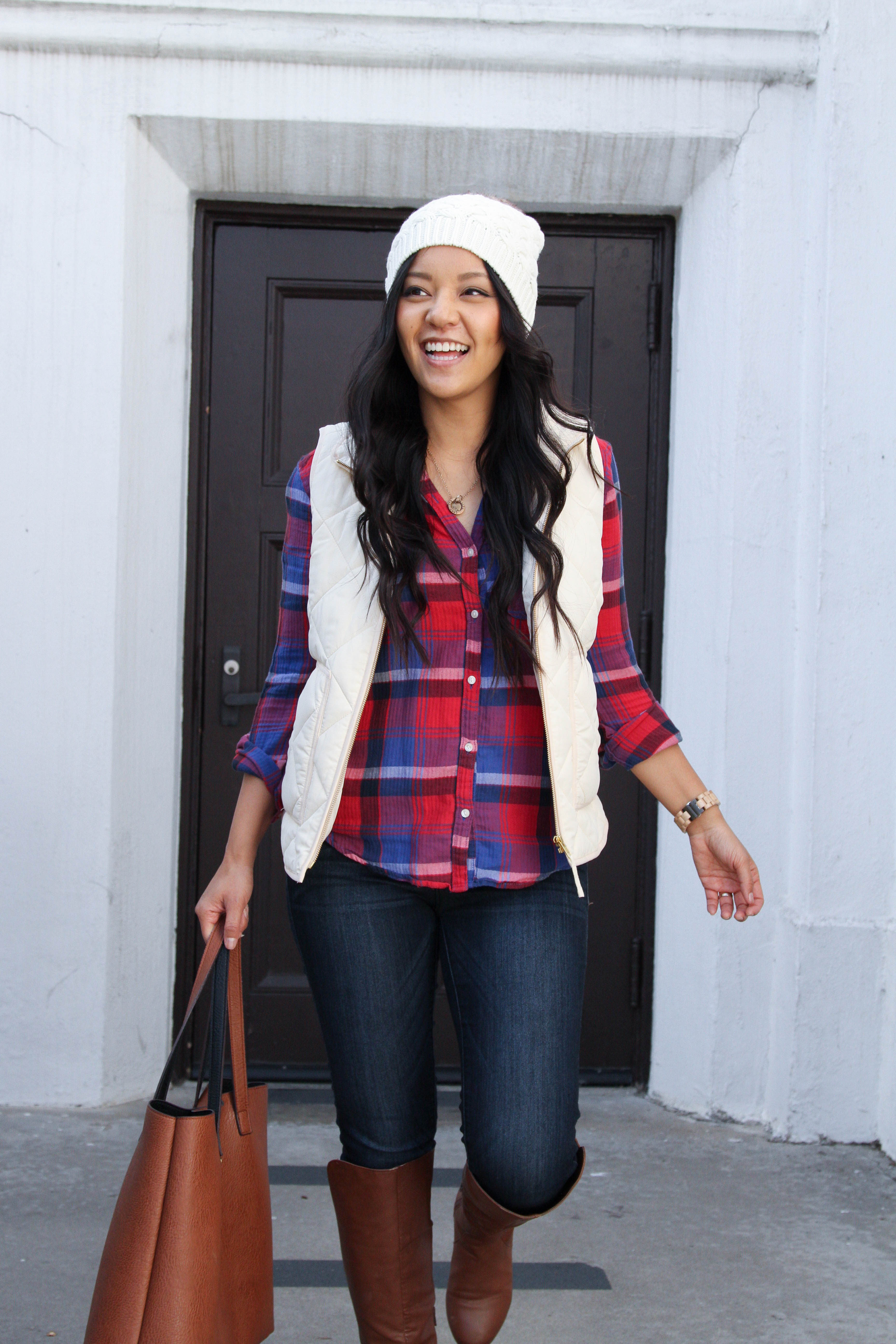 Red Plaid + White Vest + White hat + Cognac Tote + Riding Boots