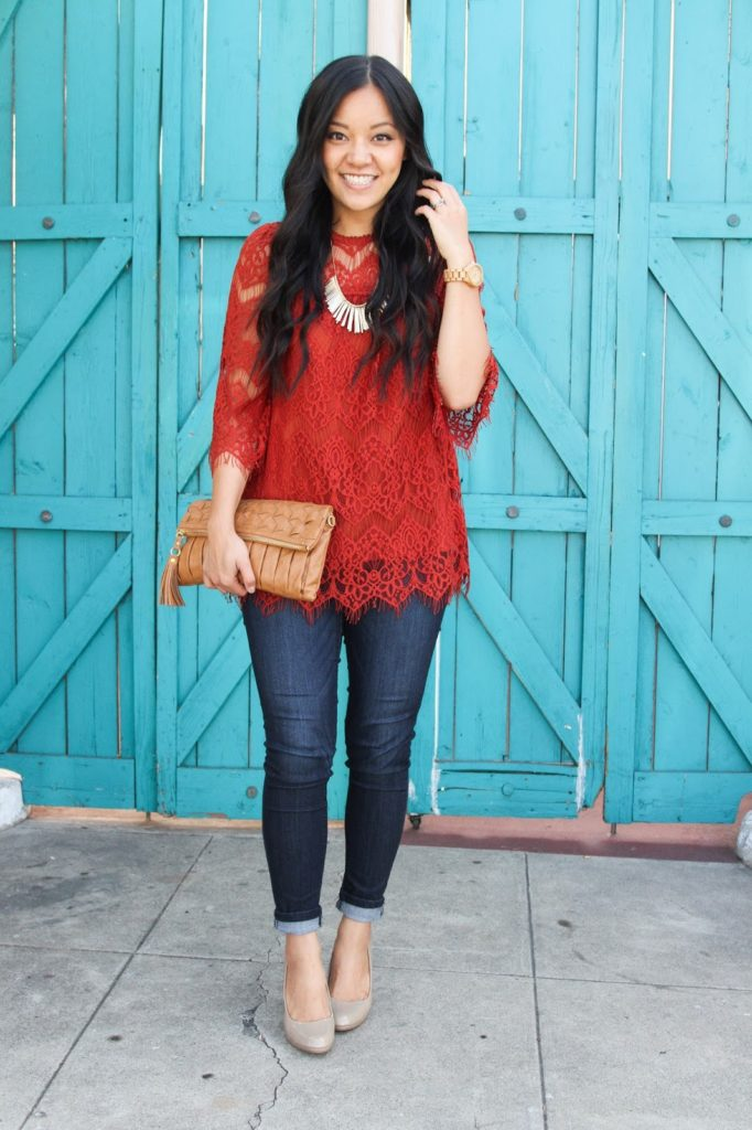 Red Orange Lace Top + Dark Skinnies + Nude Pumps + Tan Clutch + Statement Necklace