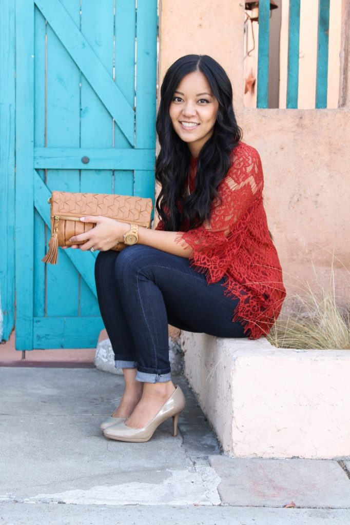 Red Orange Lace Top + Tan Clutch + JORD Watch + Statement Necklace + Skinnies + Nude Pumps