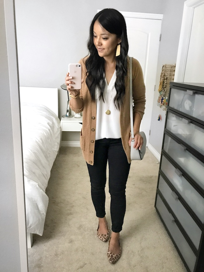 Tan Cardigan + White Blouse + Black Skinnies + Leopard Flats + Gold Earrings