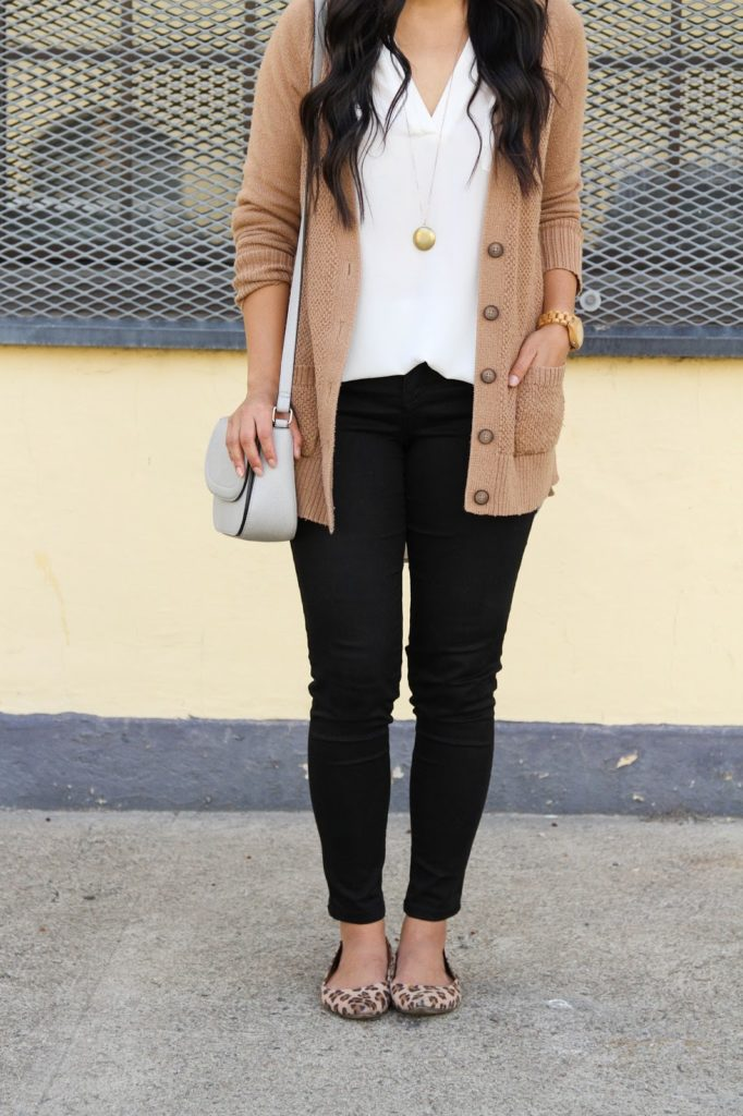 Tan Cardigan + White Blouse + Purse + Black Skinnies + JORD Watch + Gold Necklace + Leopard Flats