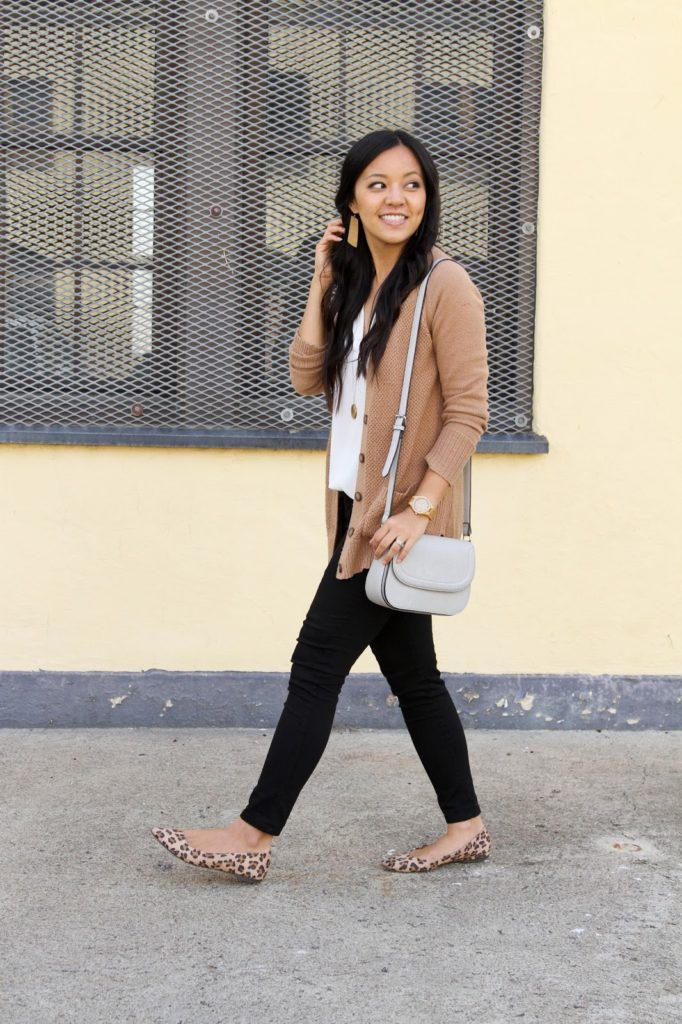 White Blouse + Tan Cardigan + Black Skinnies + Gold Earrings + Gold Necklace + Leopard Flats