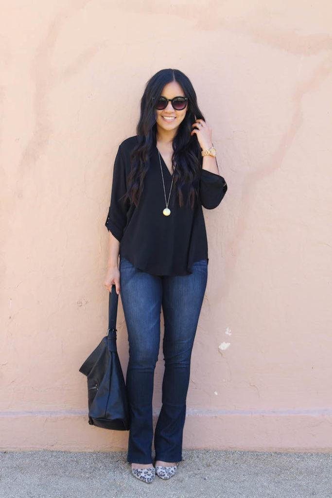 Black Blouse + Bootcut Jeans + Leopard Heels + Black Bag + Gold Necklace