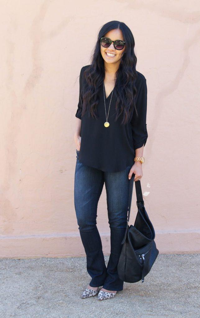 Bootcut Jeans + Black Blouse + Gold Necklace + Black Sunnies + Leopard Heels