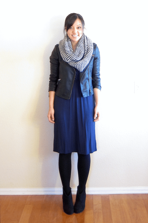 Navy Dress + Black Tights and Moto Jacket + Herringbone Printed Scarf