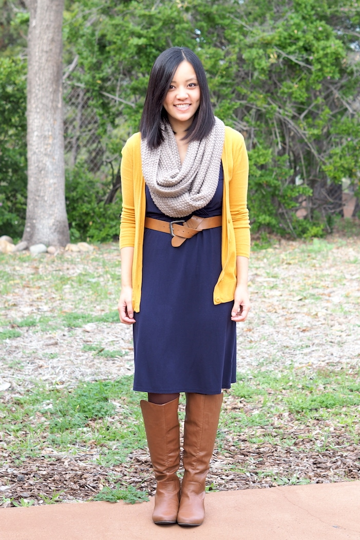 Navy Dress + Mustard Cardigan + Tan Accessories