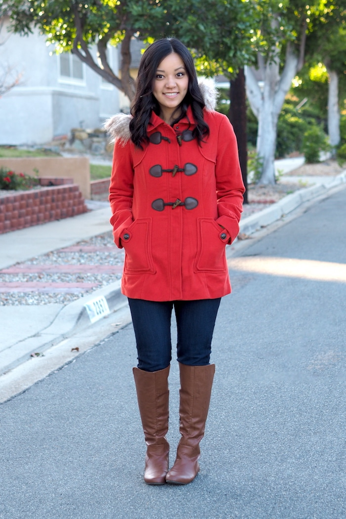 Red Coat + Skinny Jeans + Riding Boots