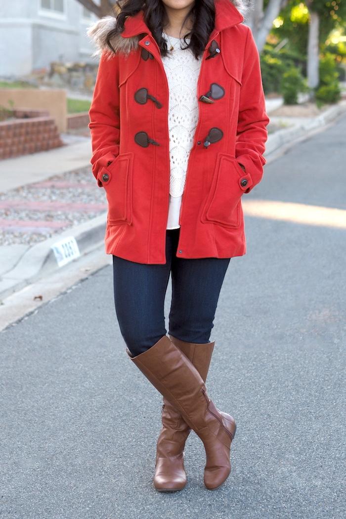 White Sweater + Red Coat + Skinnies + Riding Boots