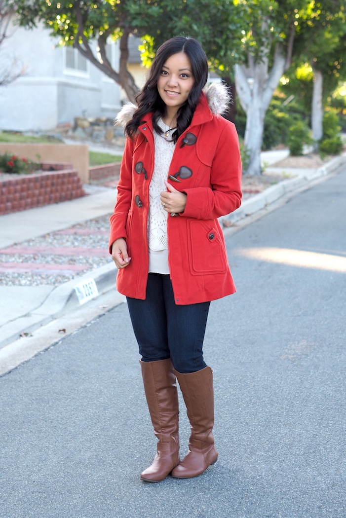 Red Coat + White Sweater + Boots + Skinnies