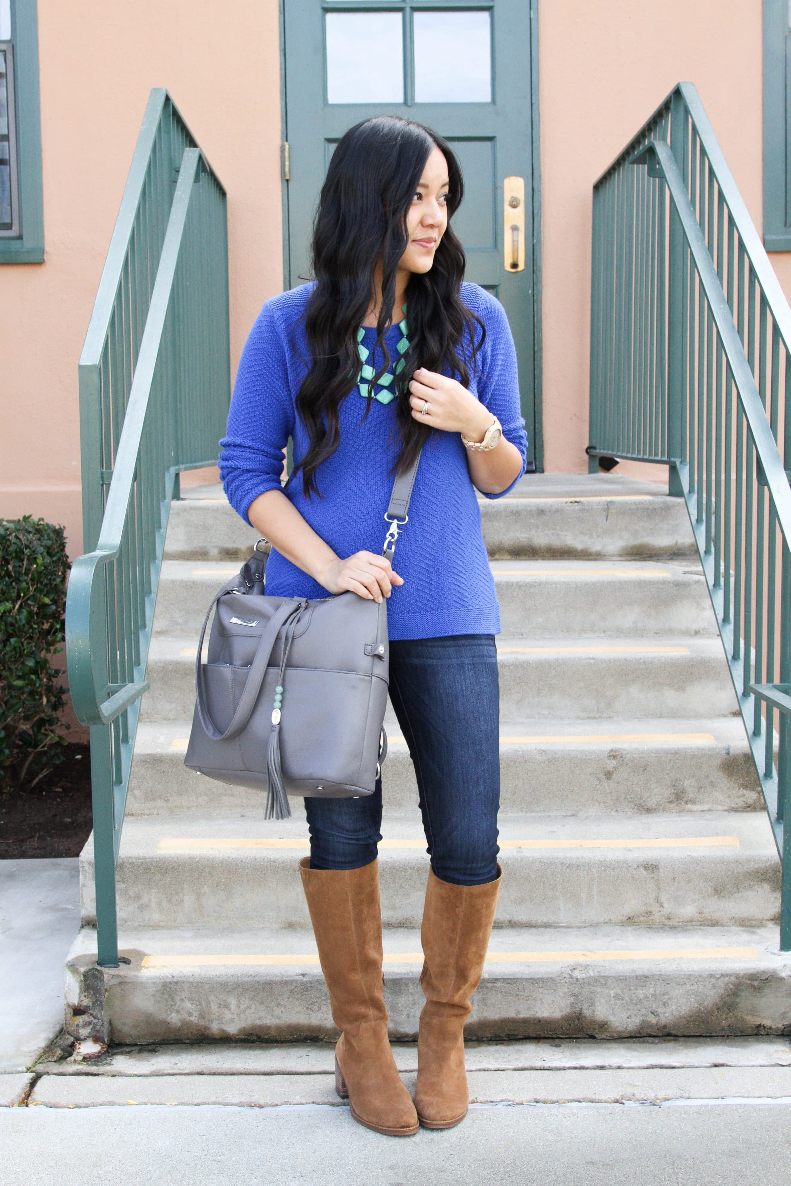 Blue Sweater + Skinnies + Riding Boots + Statement Necklace