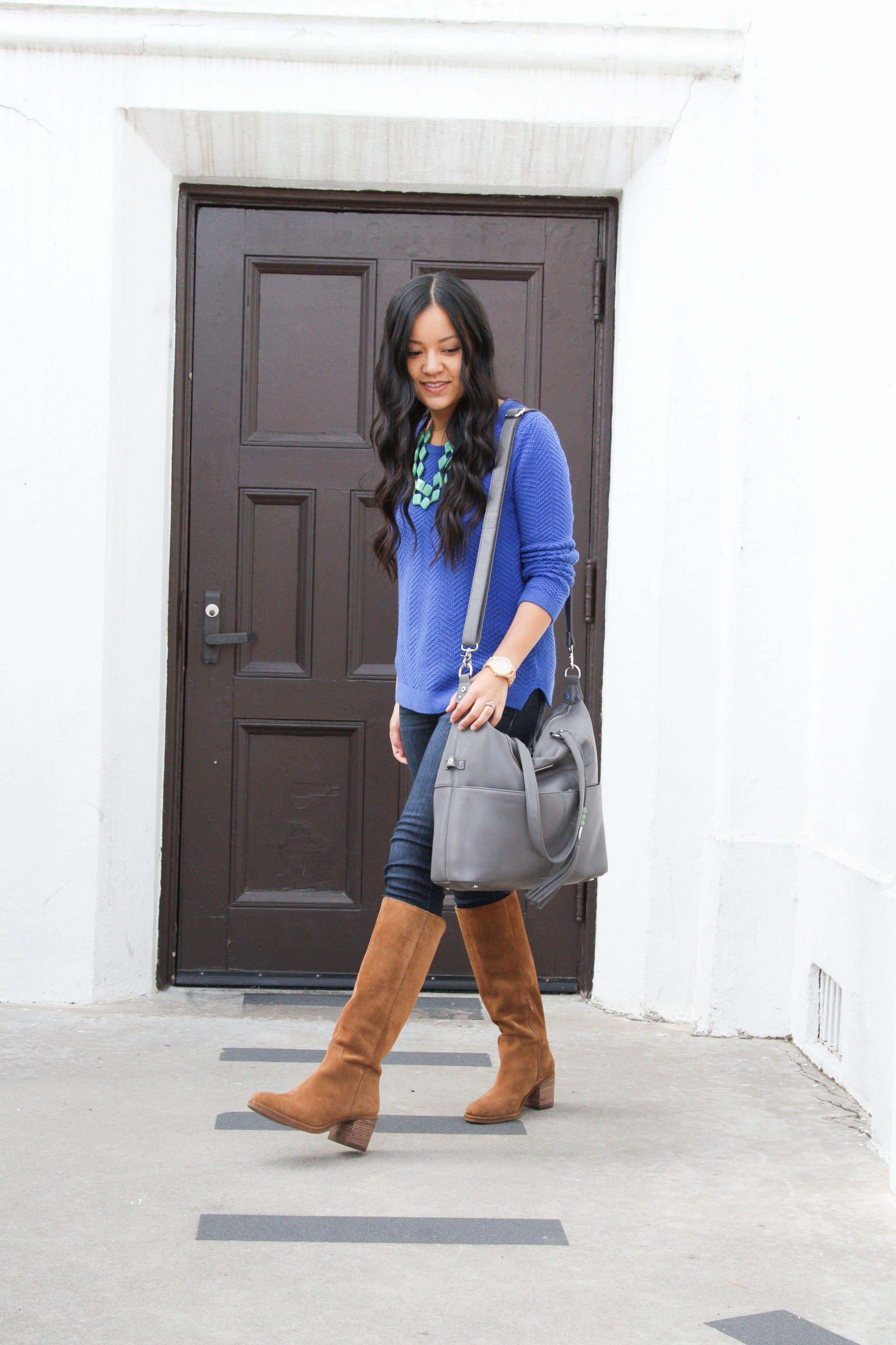 Blue Sweater + Statement Necklace + Gray Tote + Riding Boots