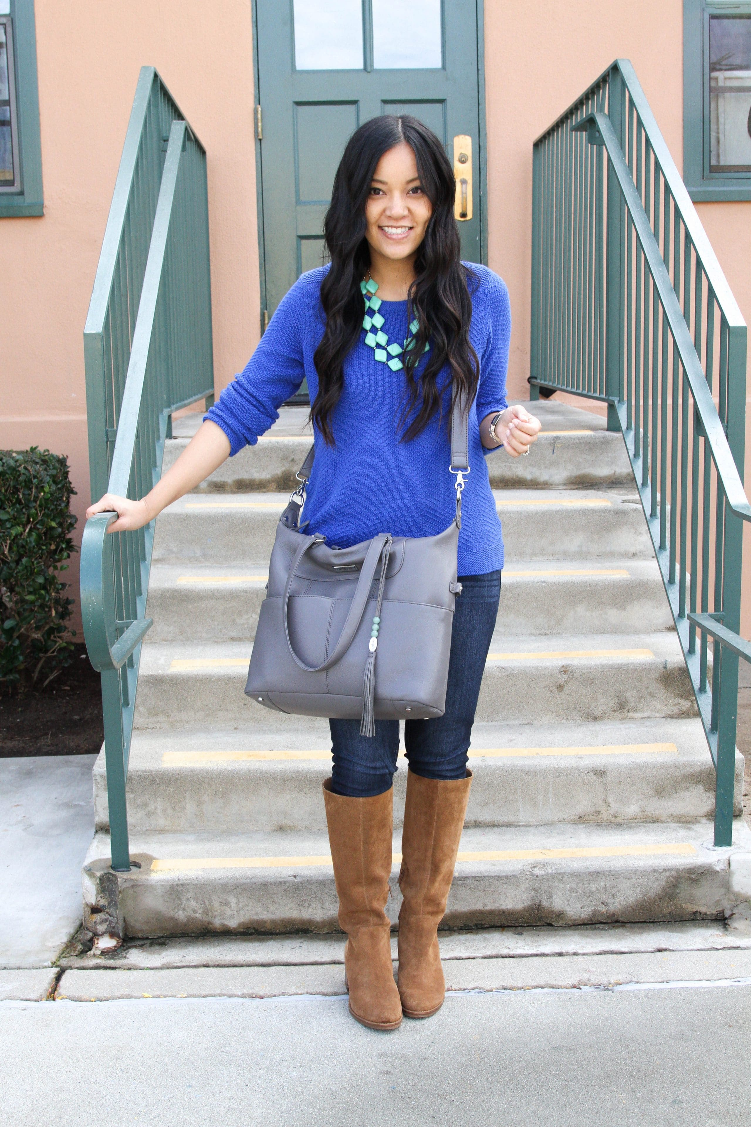 Gray Tote + Blue Sweater + Statement Necklace + Riding Boots
