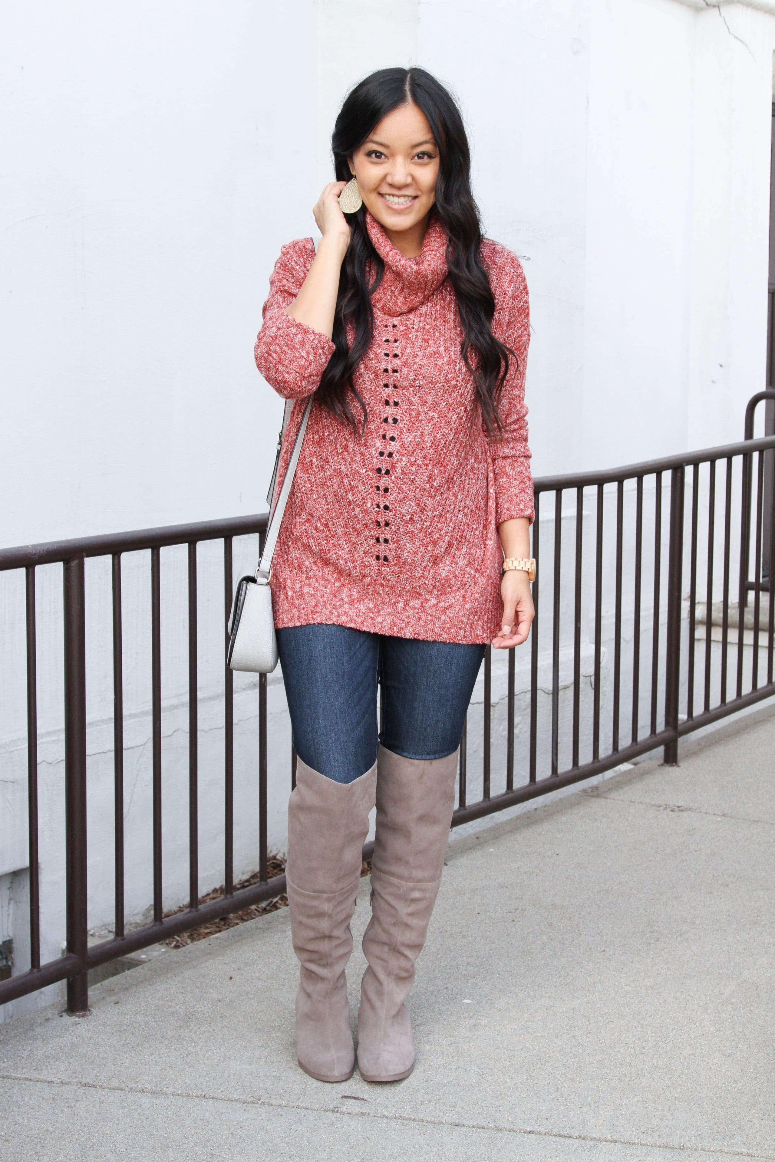 Rose Sweater + Skinnies + Gray Over Knee Boots + Crossbody + Statement earrings