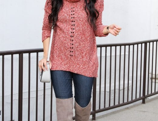 Red Cowl Neck Sweater + Grey Boots + Jeans