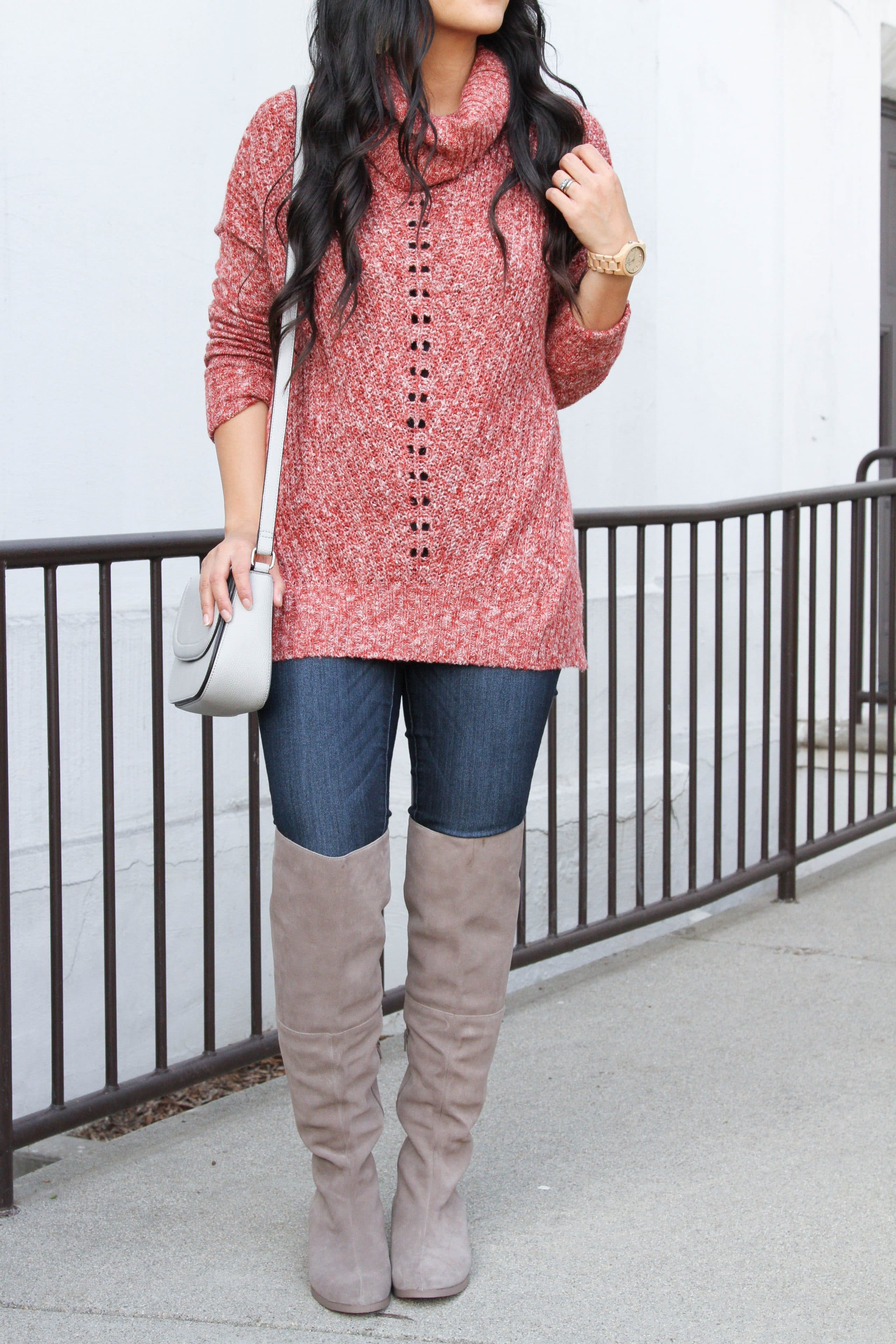 Skinnies + Over Knee Boots + Tunic Sweater