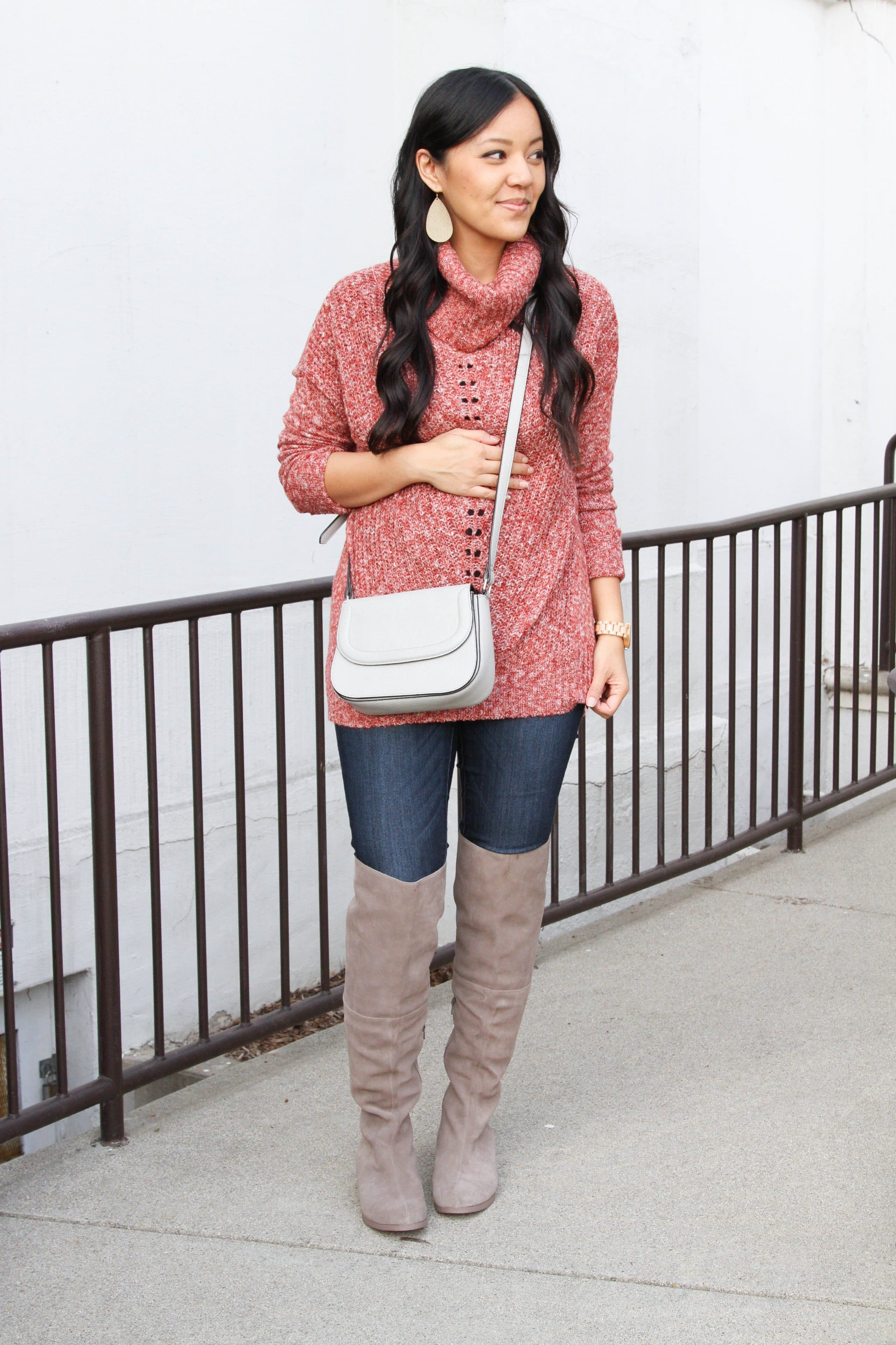 Tunic Sweater + Skinnies + Crossbody Bag + Statement Earrings + Over Knee Boots