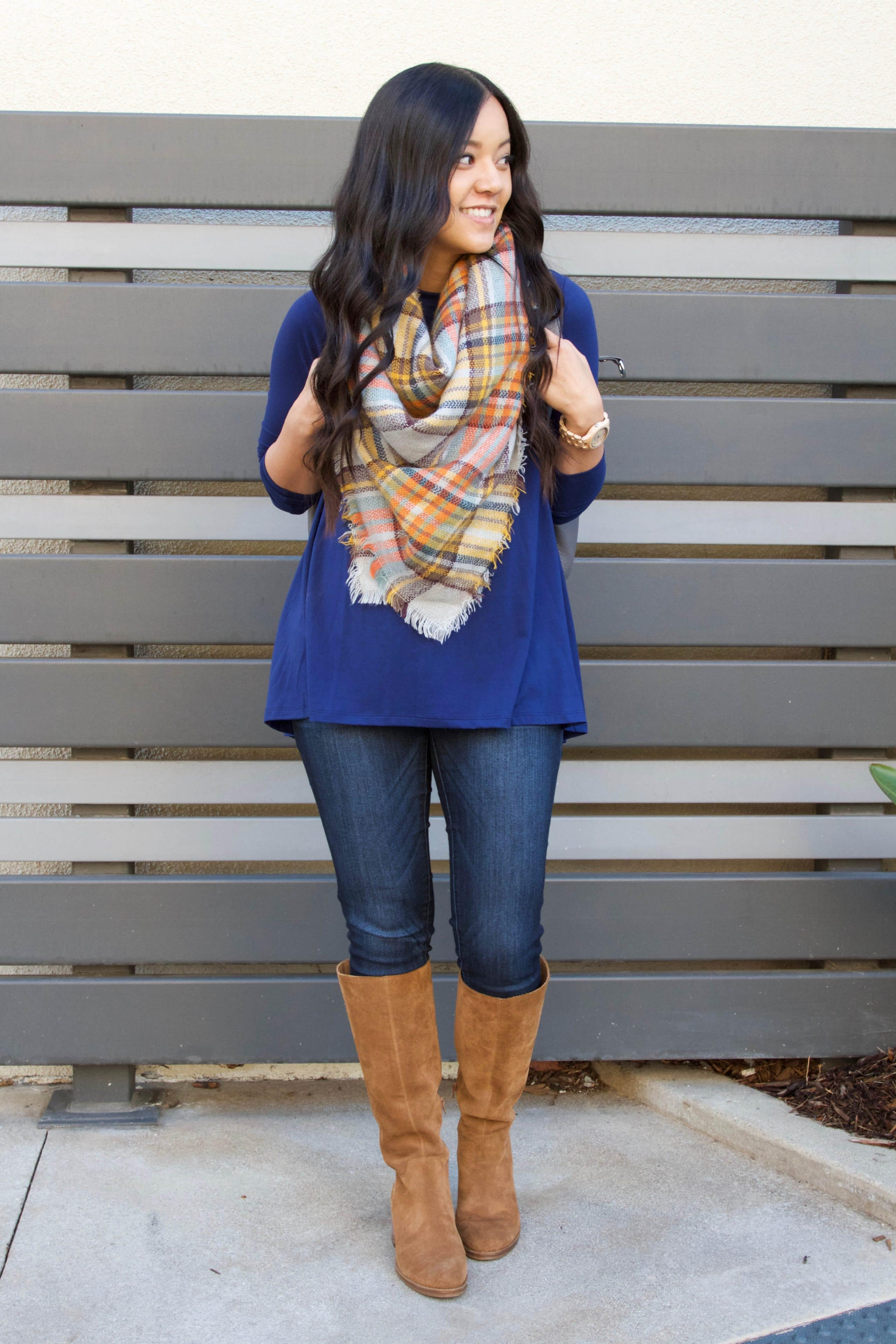 Blanket Scarf + Blue Top + Skinnies + Boots