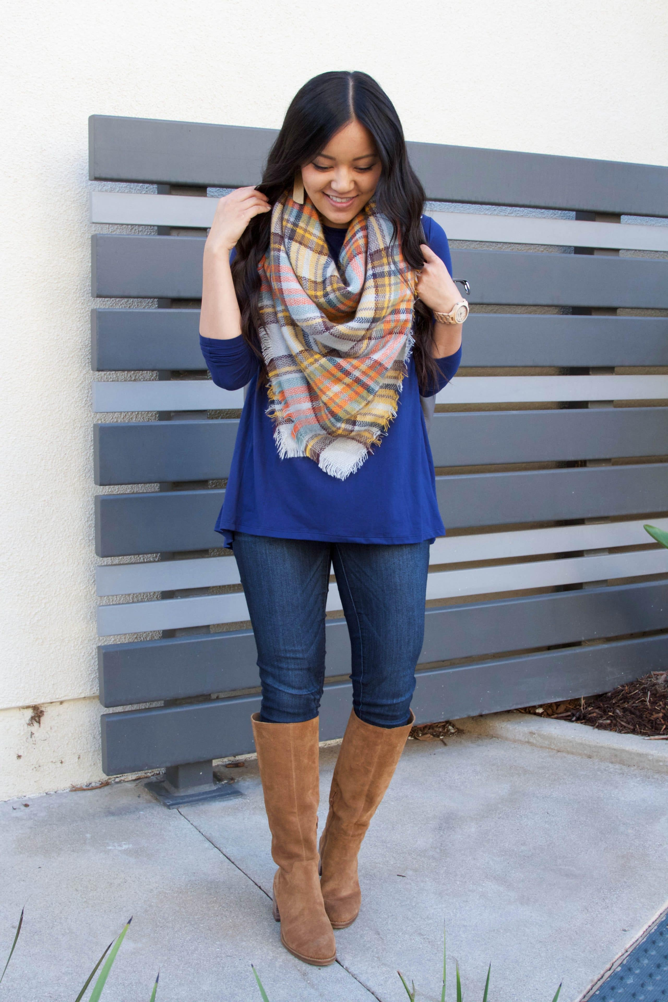 Blue Butter Tee + Skinnies + Boots + Blanket Scarf + Jord Watch