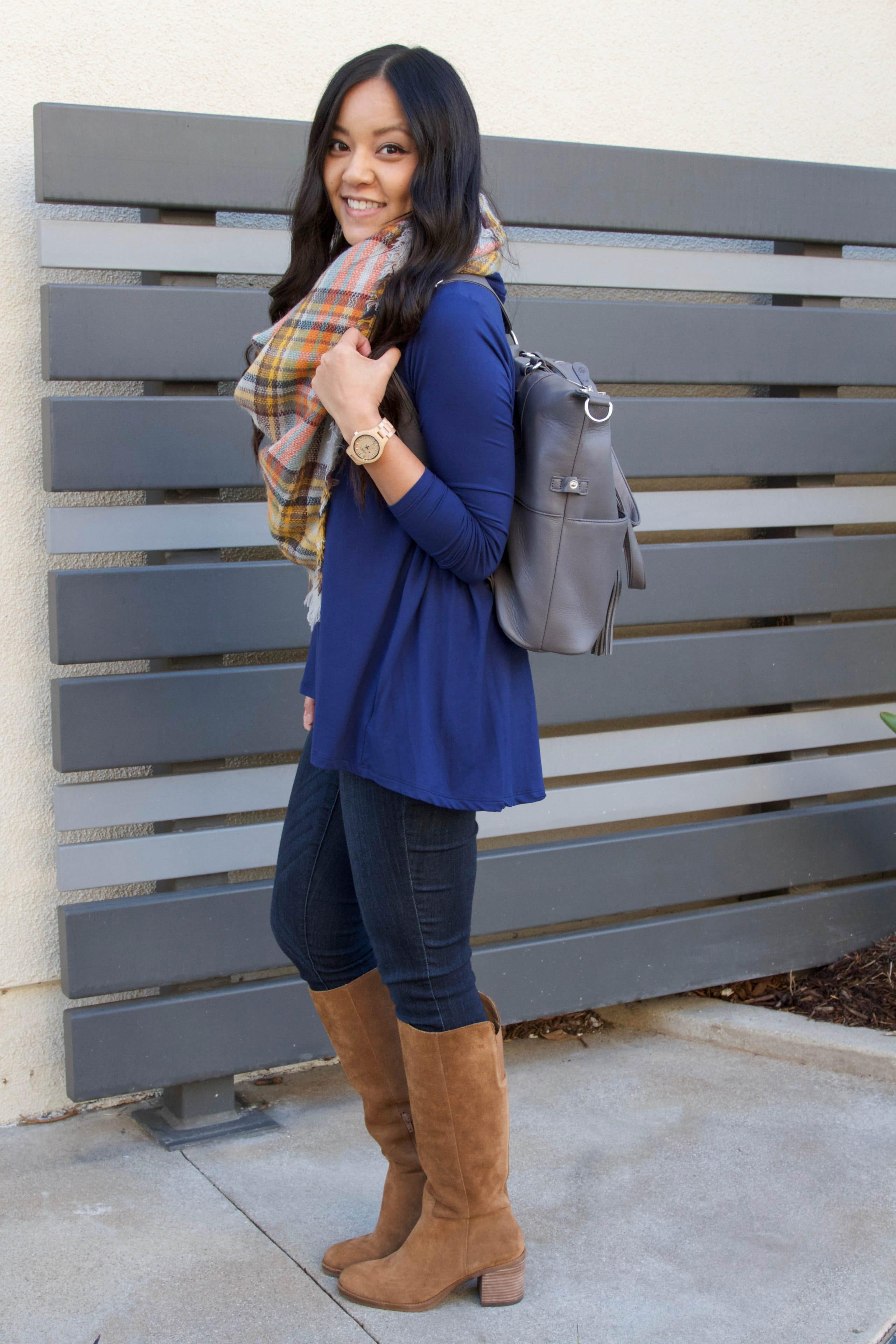 Blue Butter Tee + Blanket Scarf + Riding Boots + Lily Jade Bag