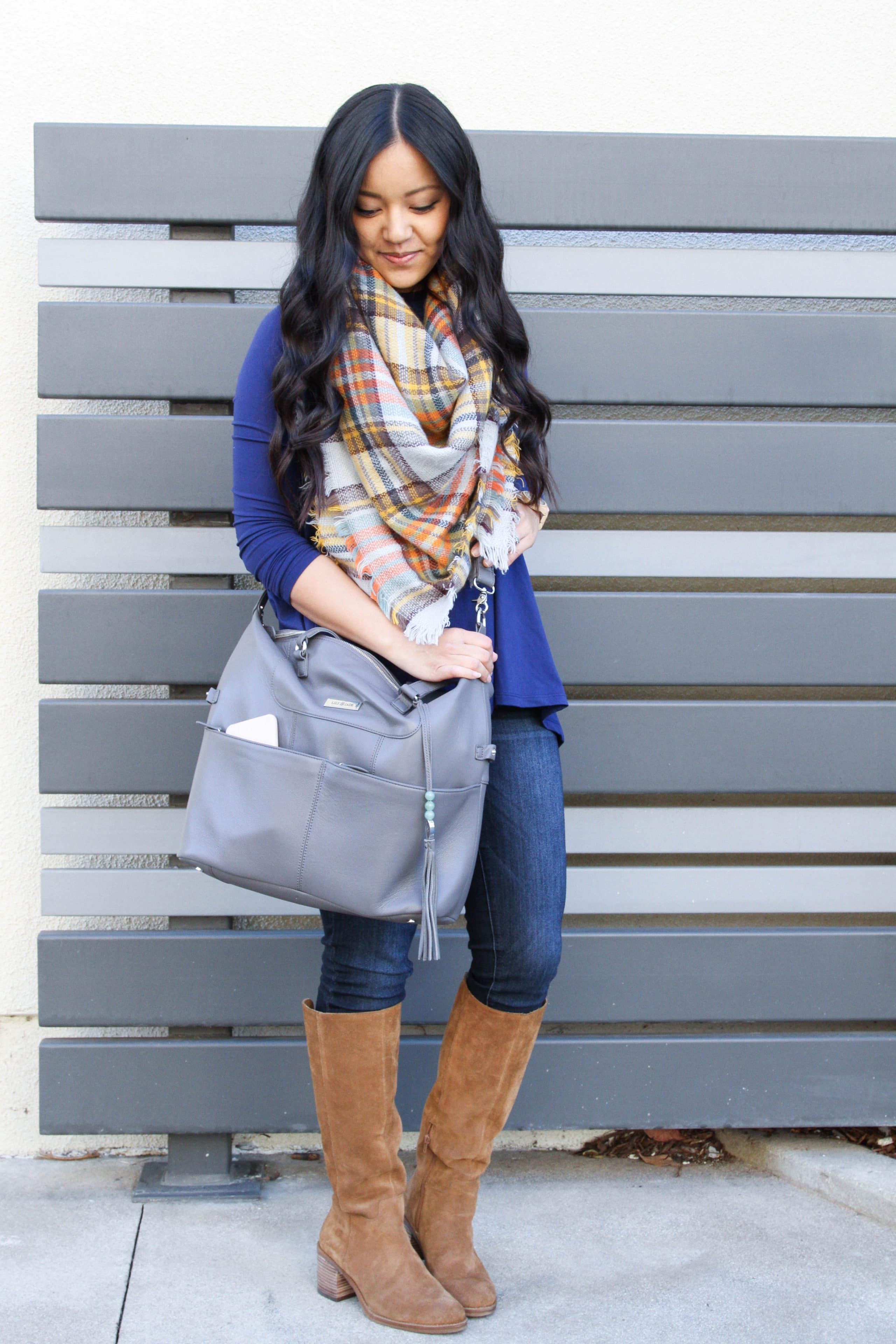 Boots + Skinnies + Blue Butter Tee + Blanket Scarf + Lilly Jade