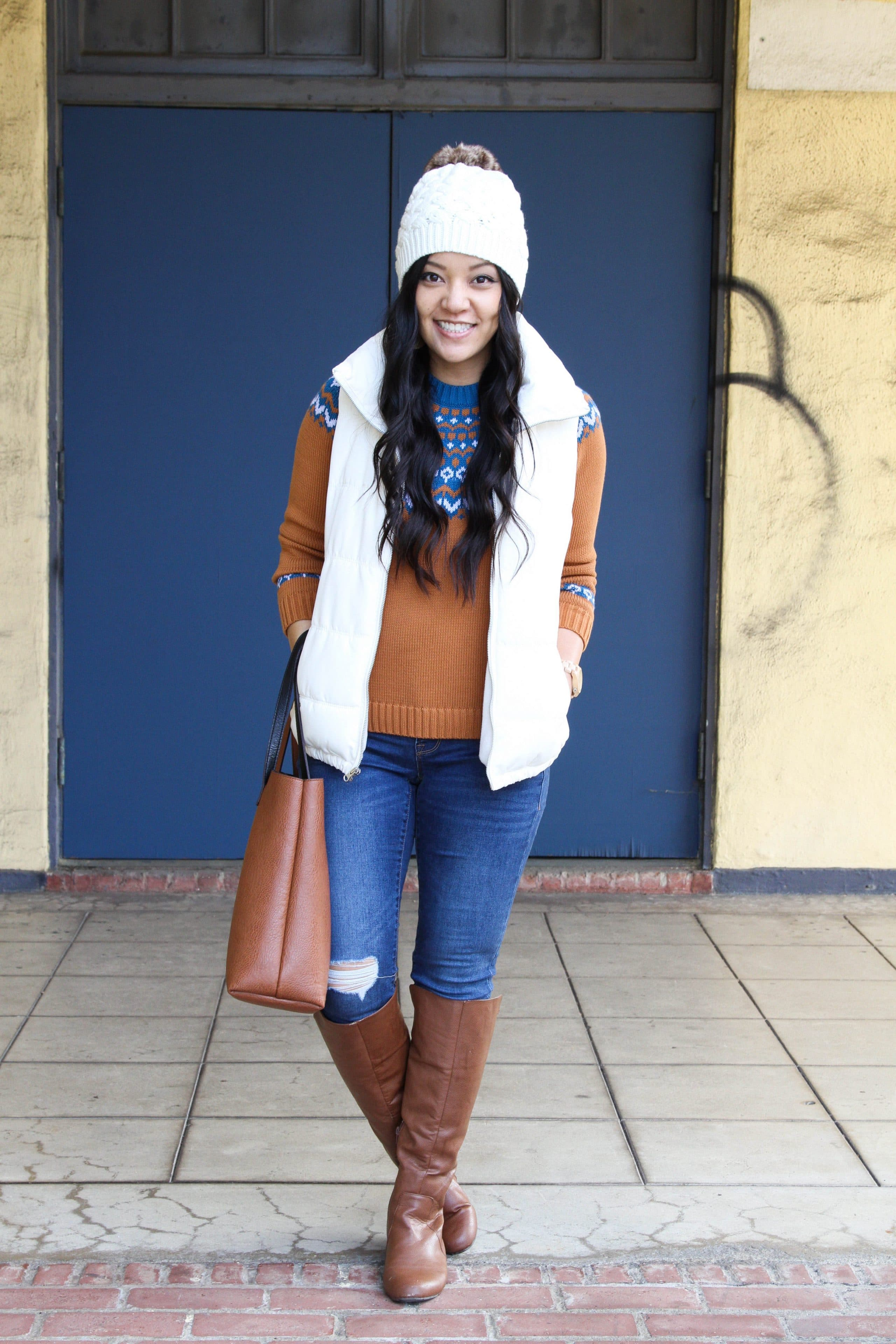Fair Isle Sweater + White Vest + Beanie + Skinnies + Boots + Tote