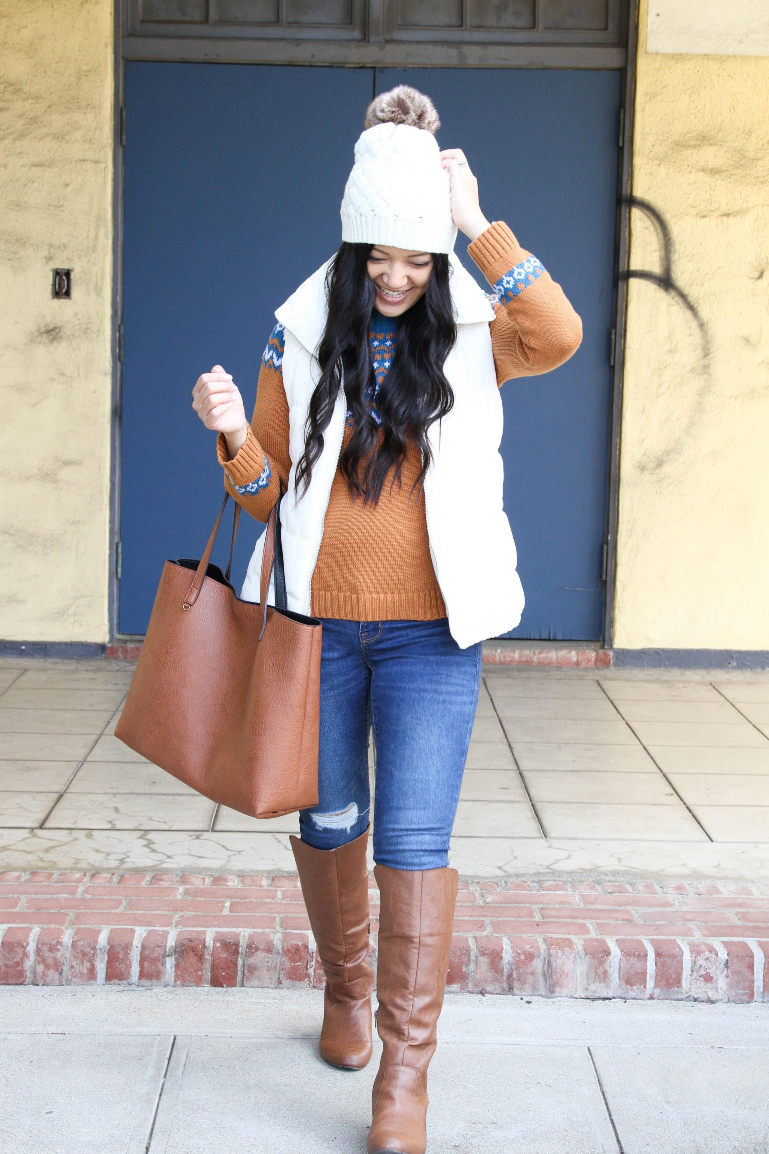Beanie + White Vest + Fair Isle Sweater + Skinnies + Boots + Cognac Tote