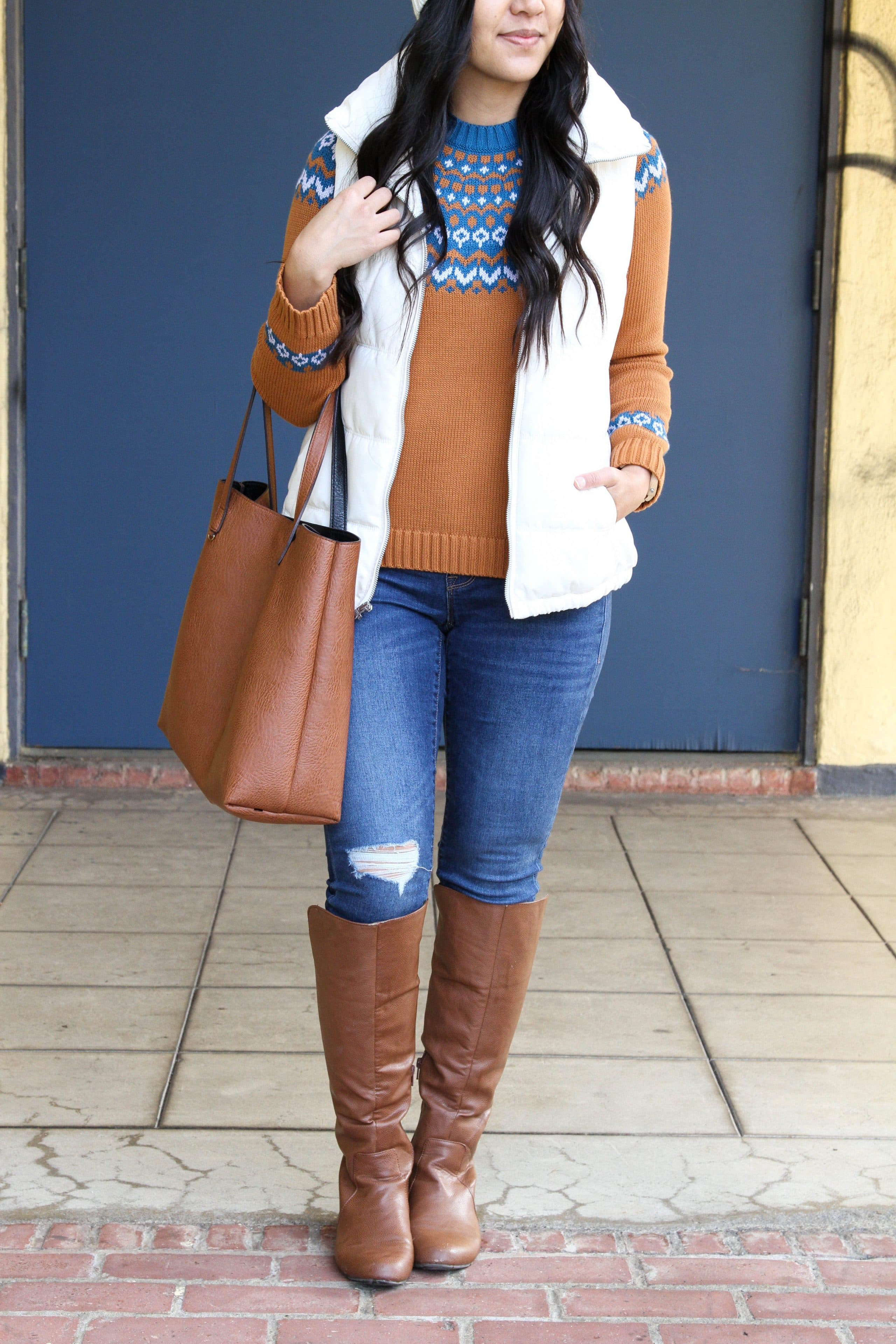 Skinnies + White Vest + Fair Isle Sweater + Tote + Boots