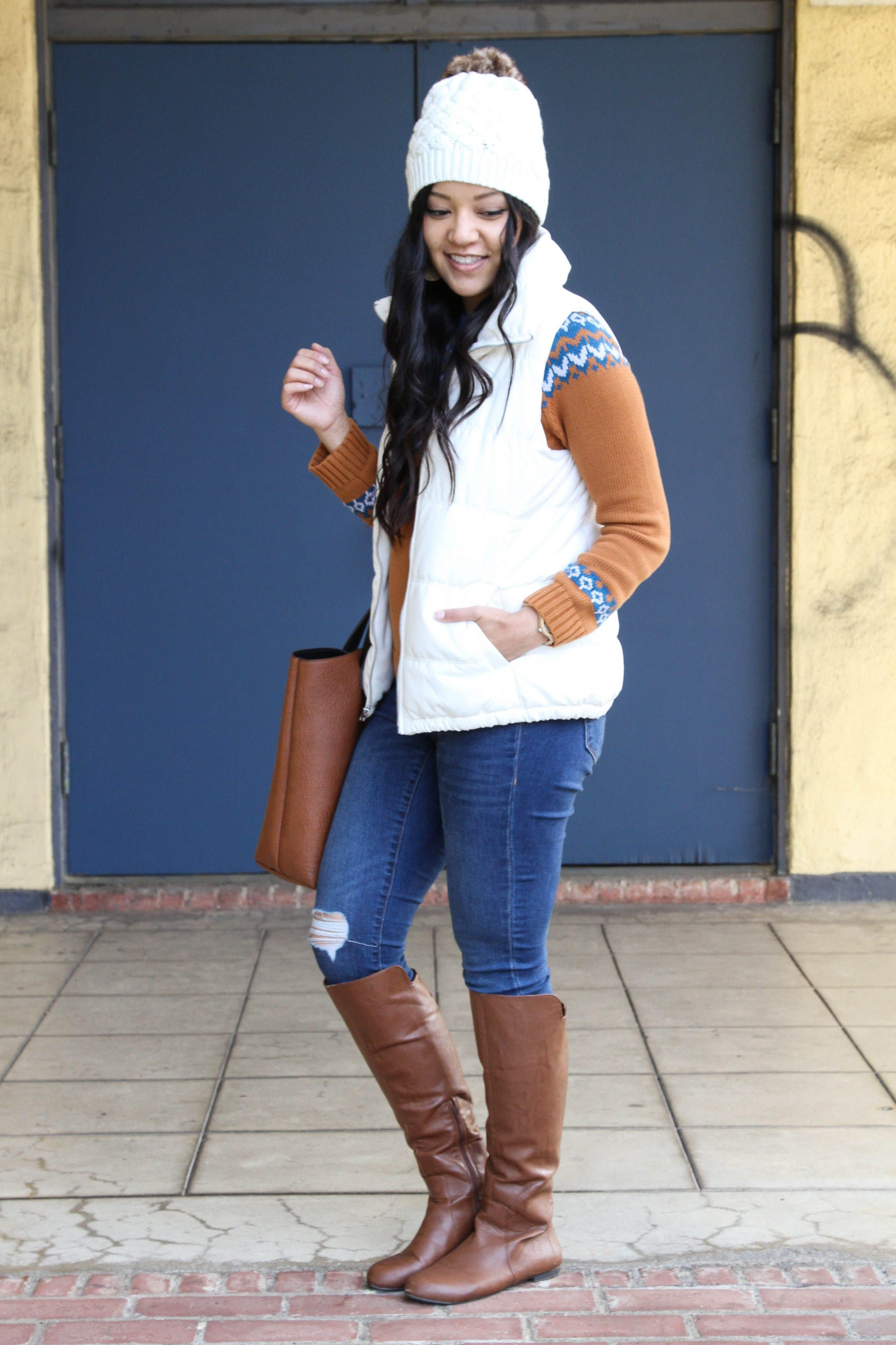 White Vest + Beanie + Skinnies + Fair Isle Sweater + Boots + Cognac Tote