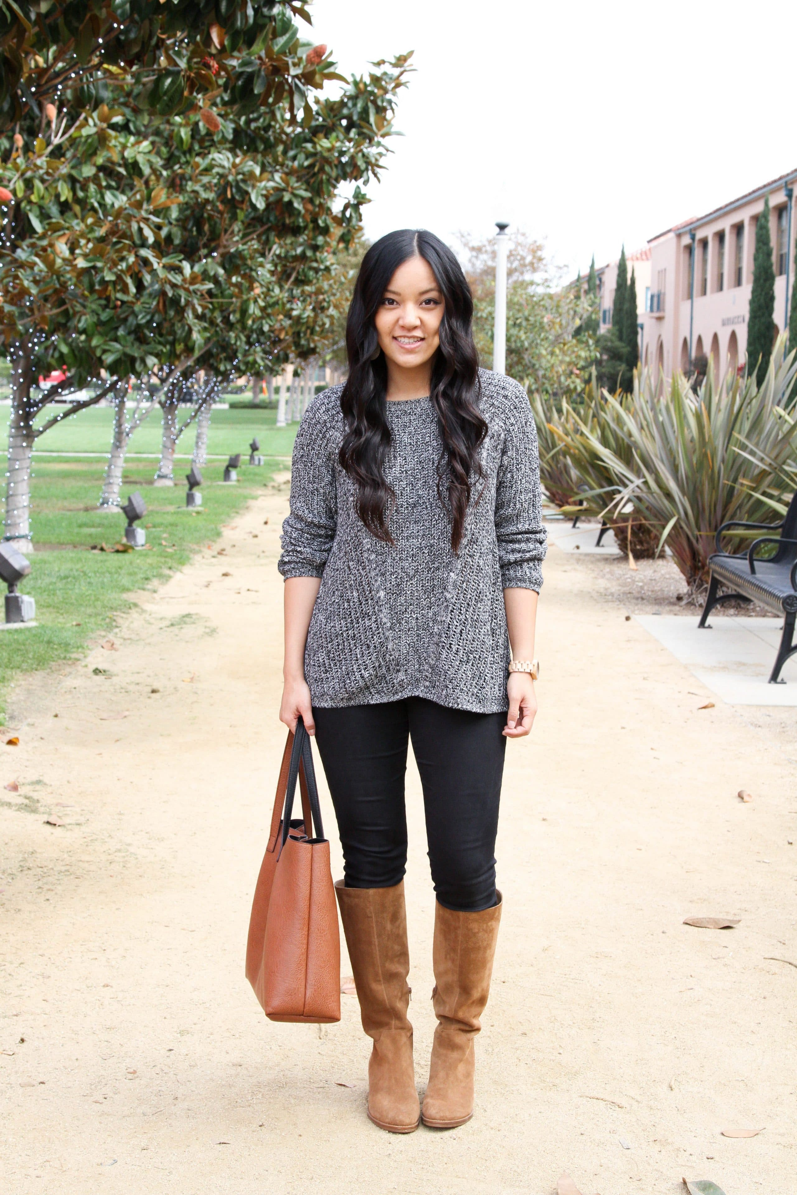 Grey Sweater + Black Jeans + Cognac Boots + Tote
