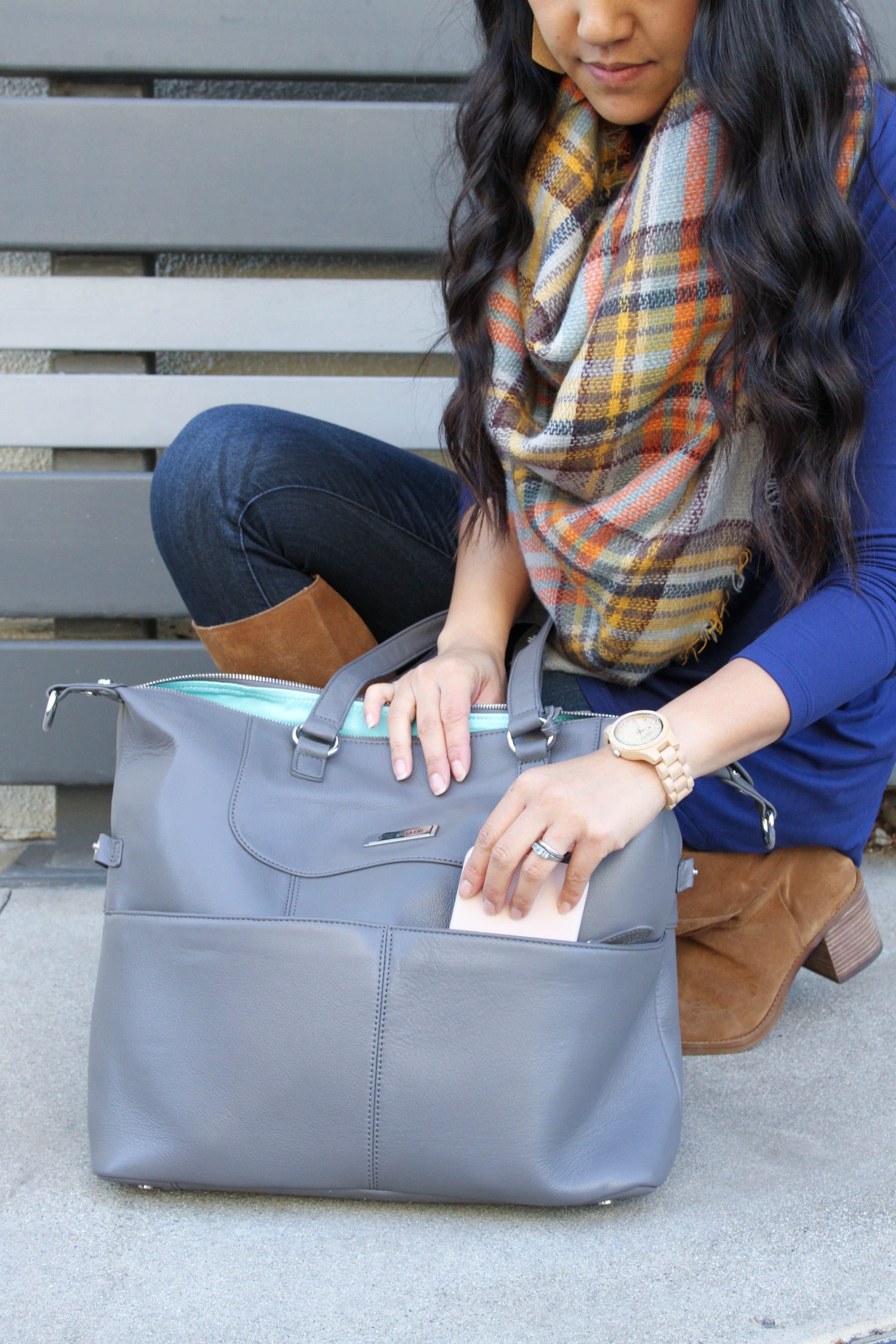 Lily Jade Bag + Blanket Scarf + Blue Butter Tee