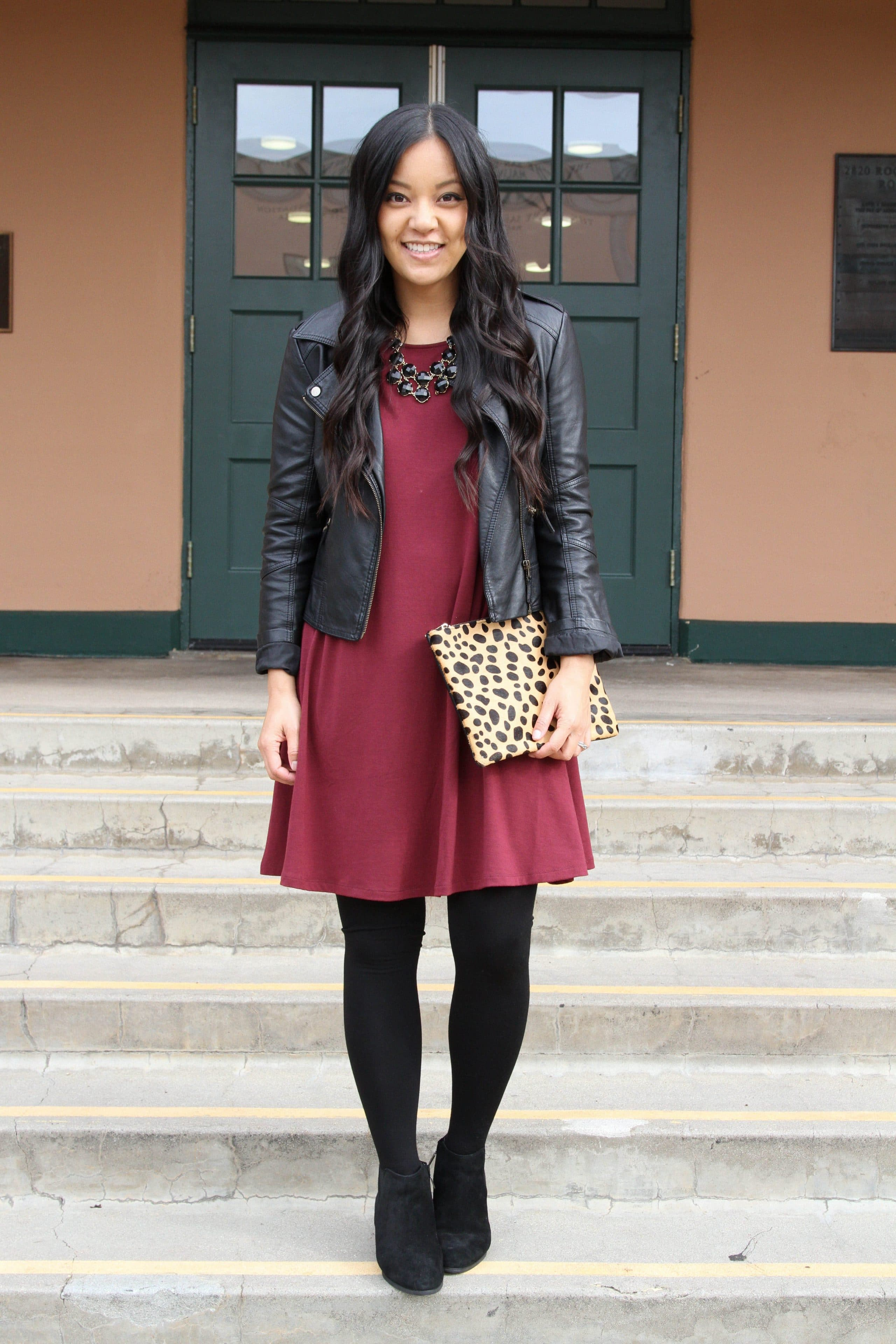 Maroon Dress + Black Statement Necklace + Black Moto Jacket + Black Tights